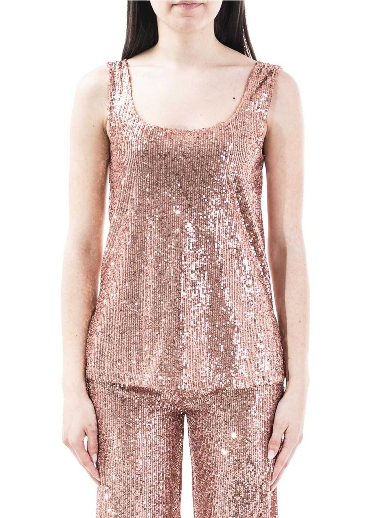 L`Autre Chose Sequined Top In Pink Pink