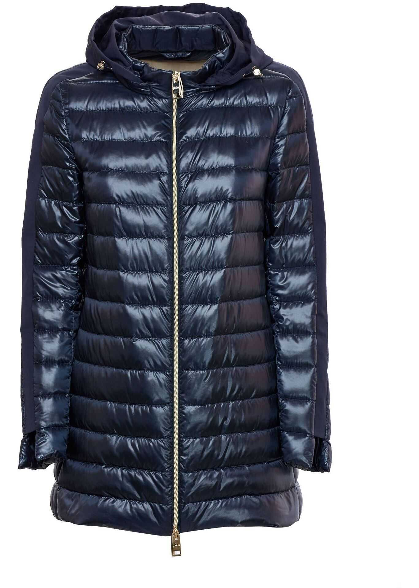 Herno Detachable Hood Down Jacket In Blue Blue