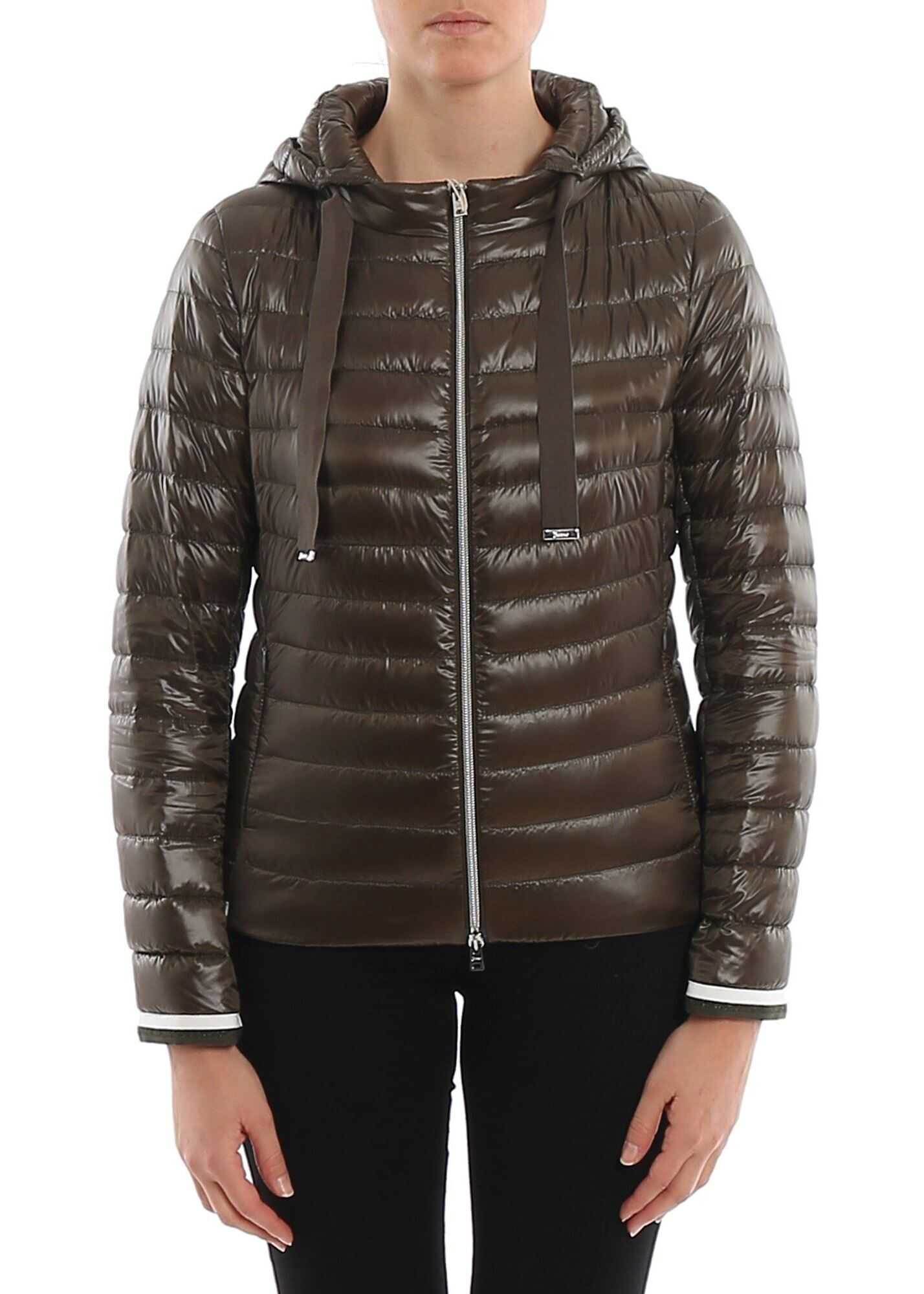 Herno Lurex Details Down Jacket In Green Green