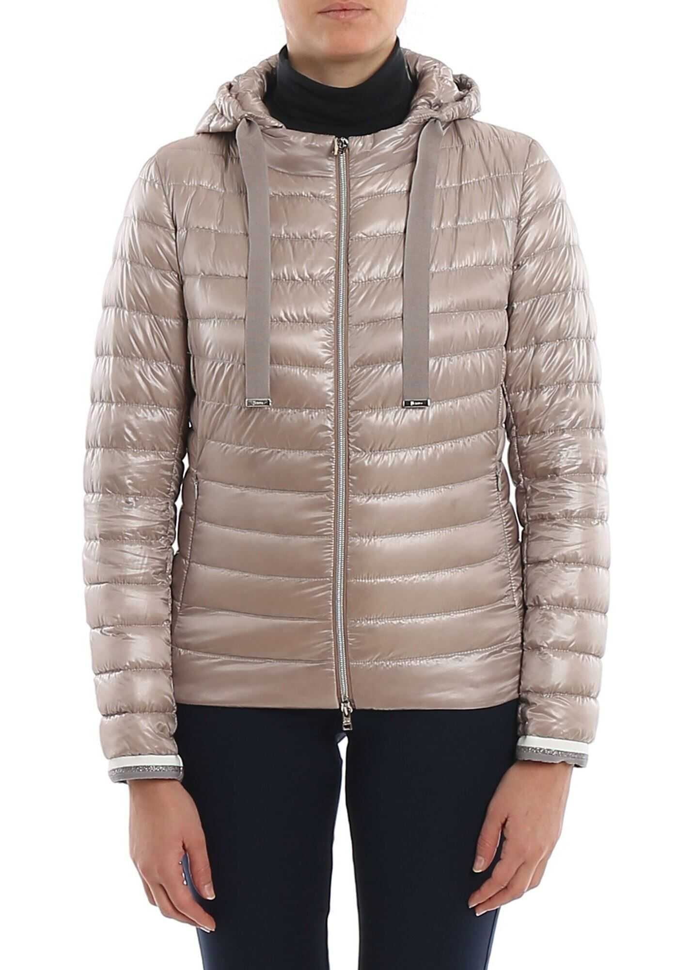 Herno Lurex Details Down Jacket In Beige Beige