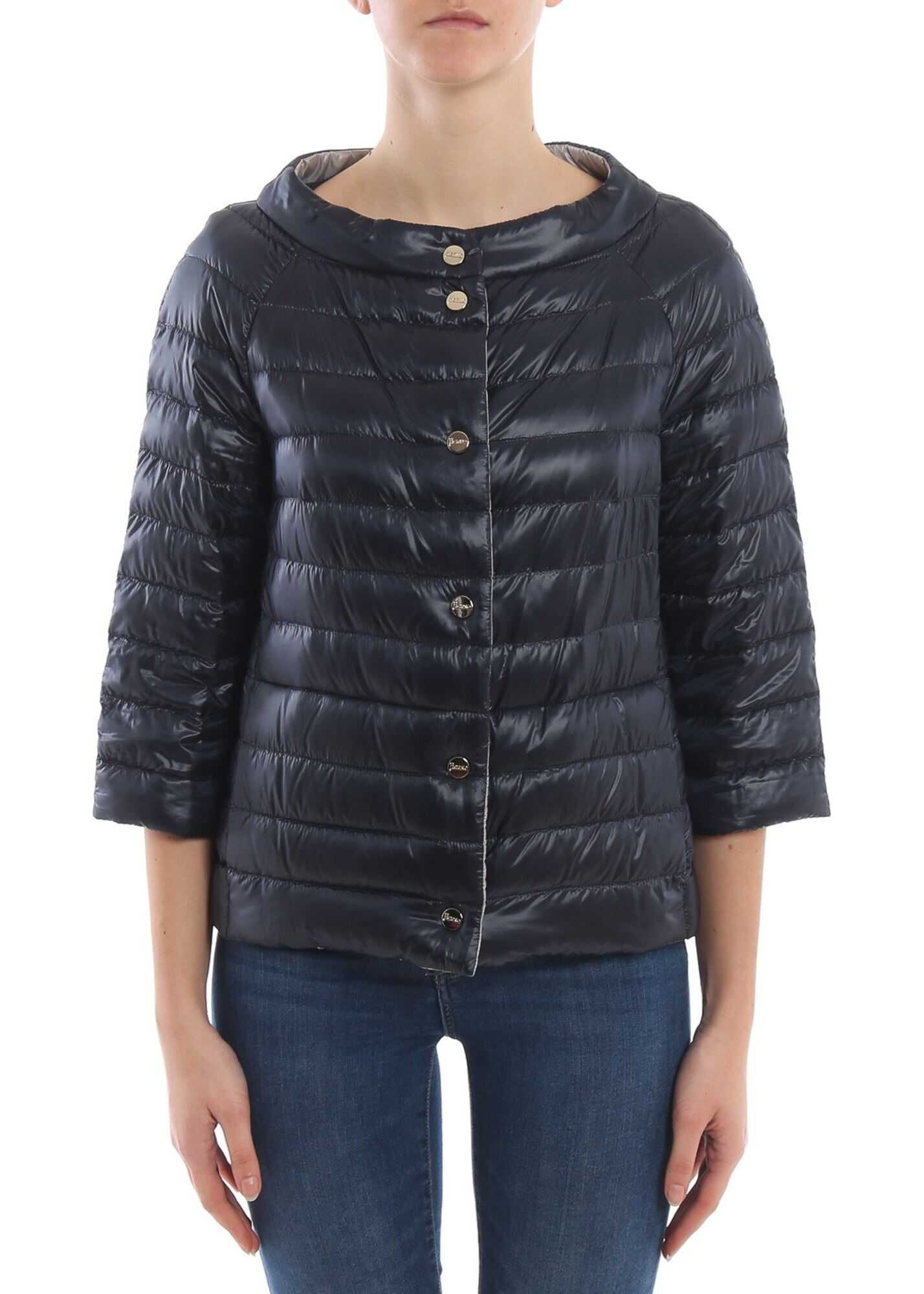 Herno Reversible Down Jacket In Dark Blue And Pearl Grey Blue