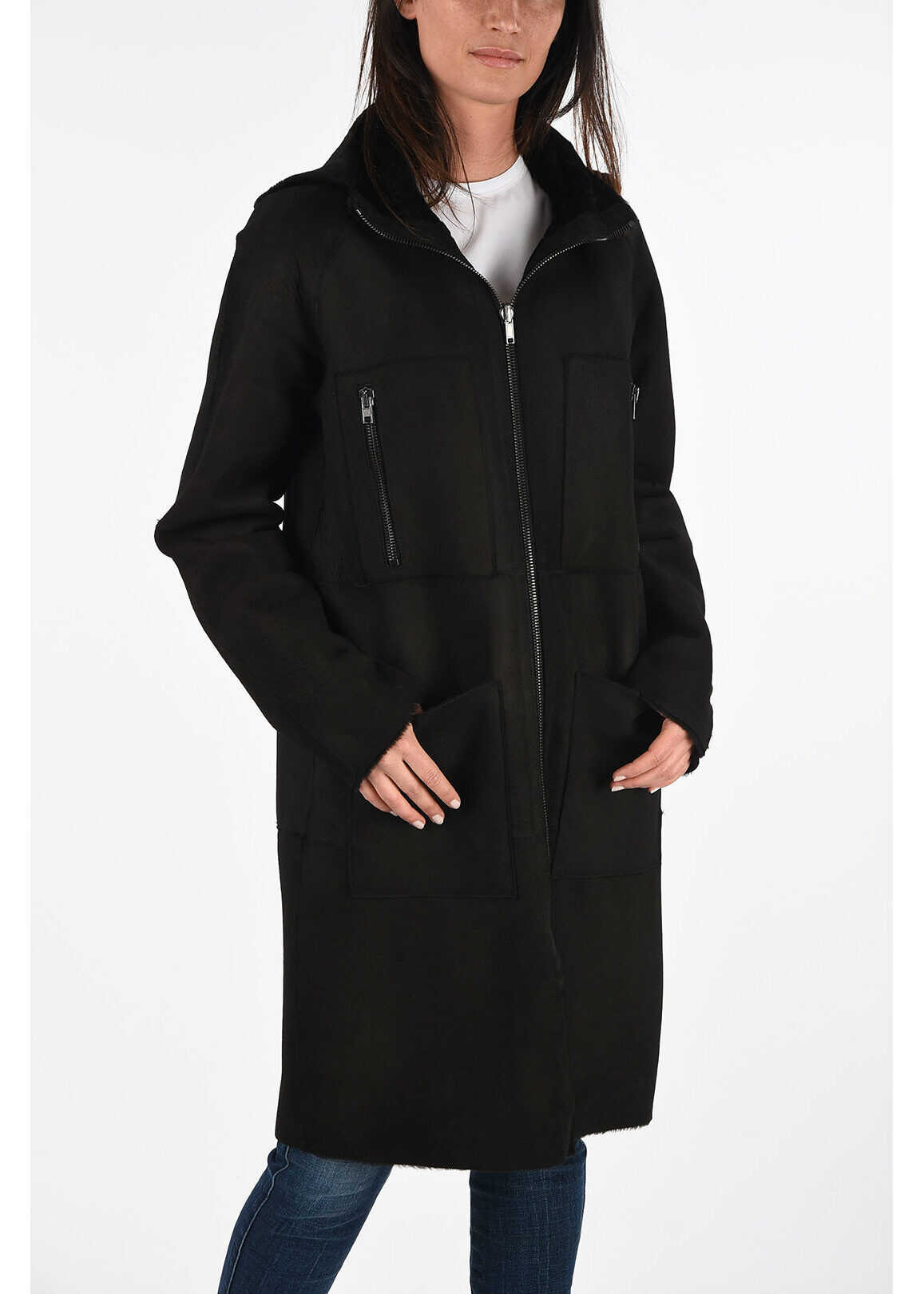 Diesel BLACK GOLD Leather LISTY-A Coat BLACK