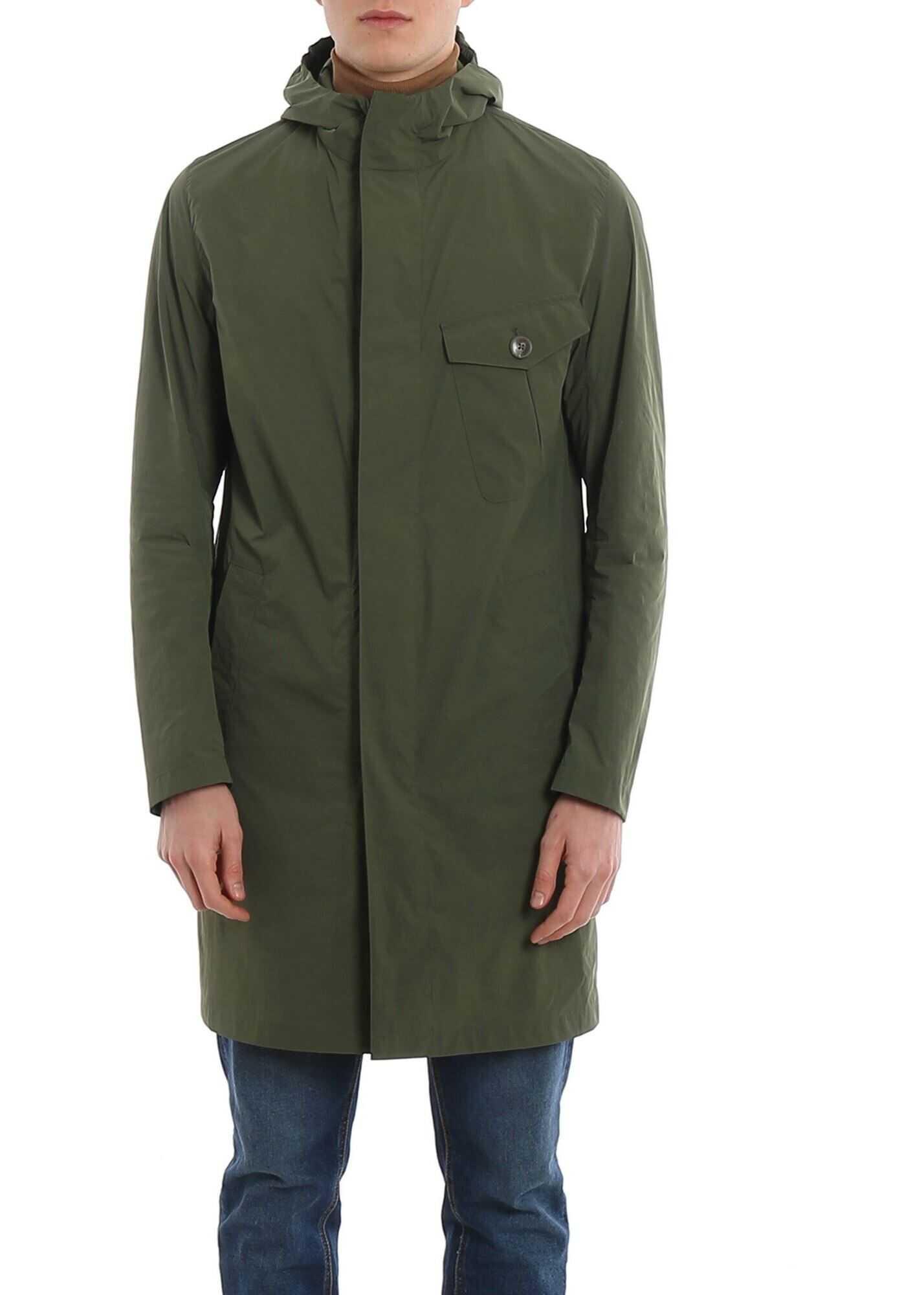 Herno Asymmetrical Zip Fastening Coat In Green Green imagine