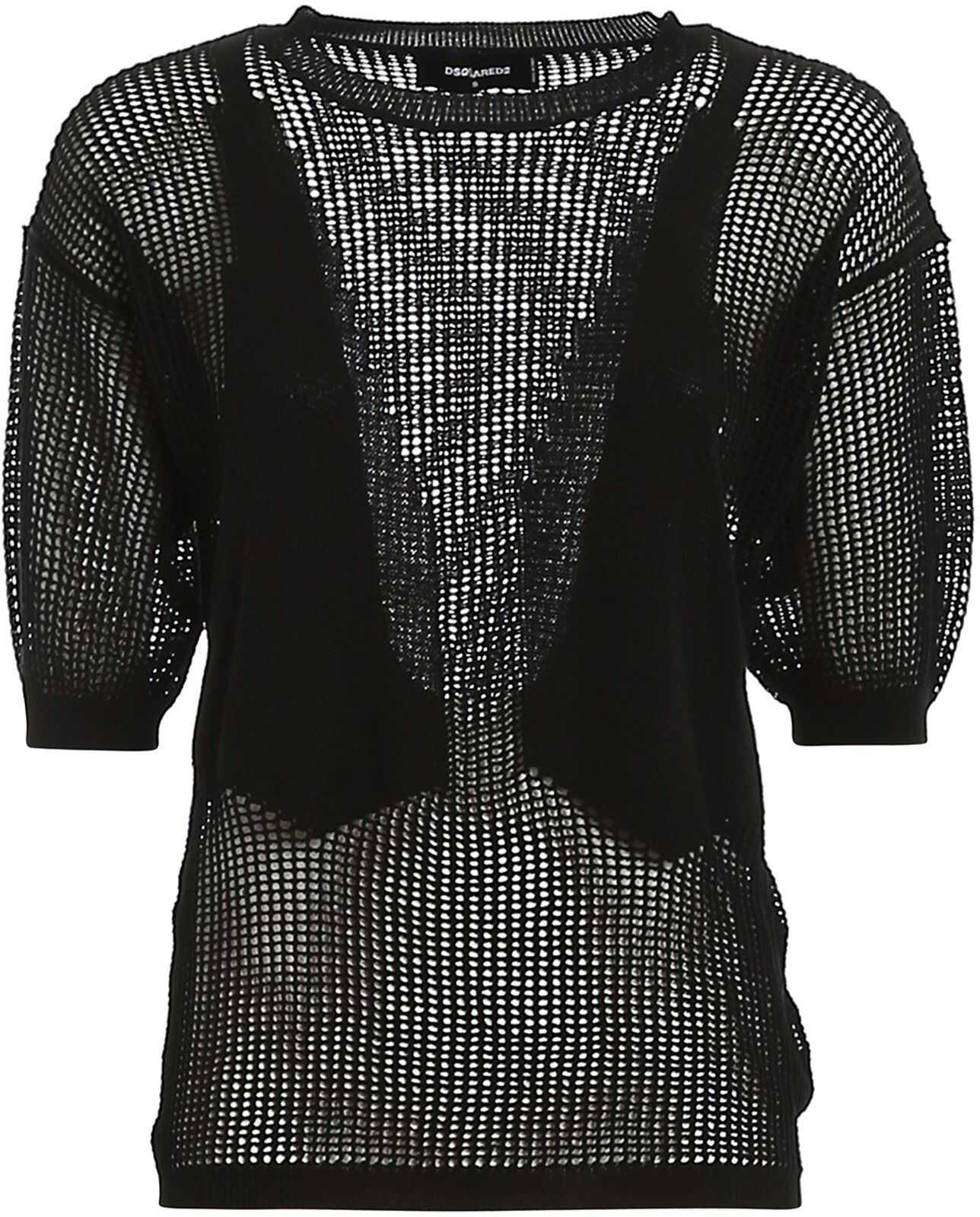 DSQUARED2 Dévoré Cotton Pullover In Black Black