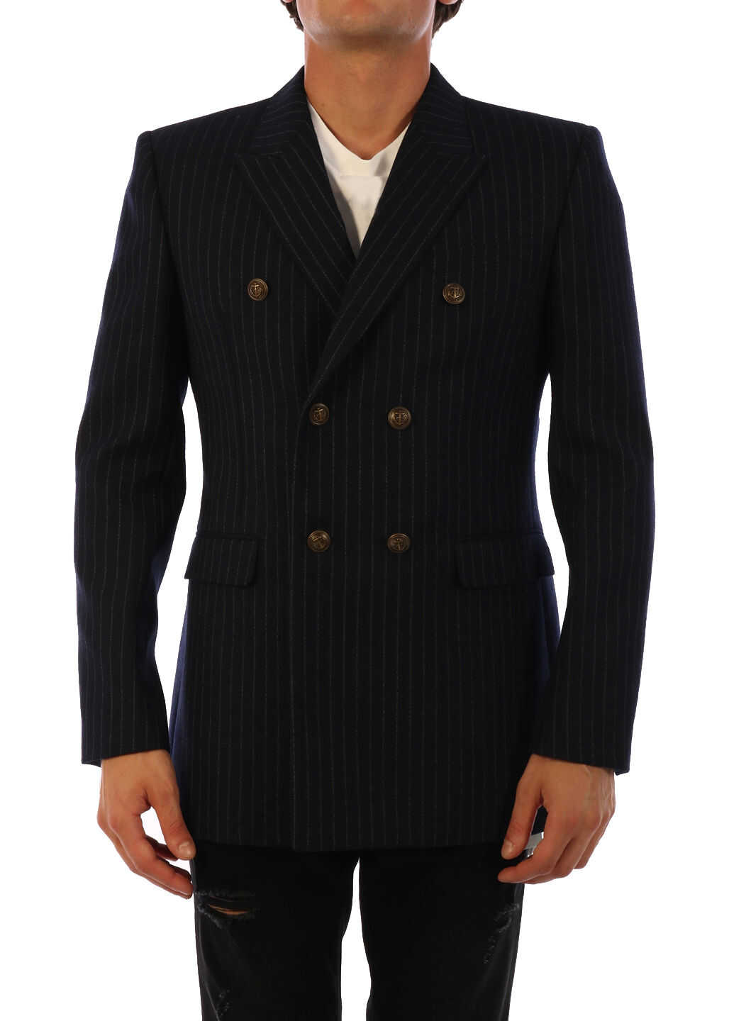 Saint Laurent Wool Jacket Blue imagine