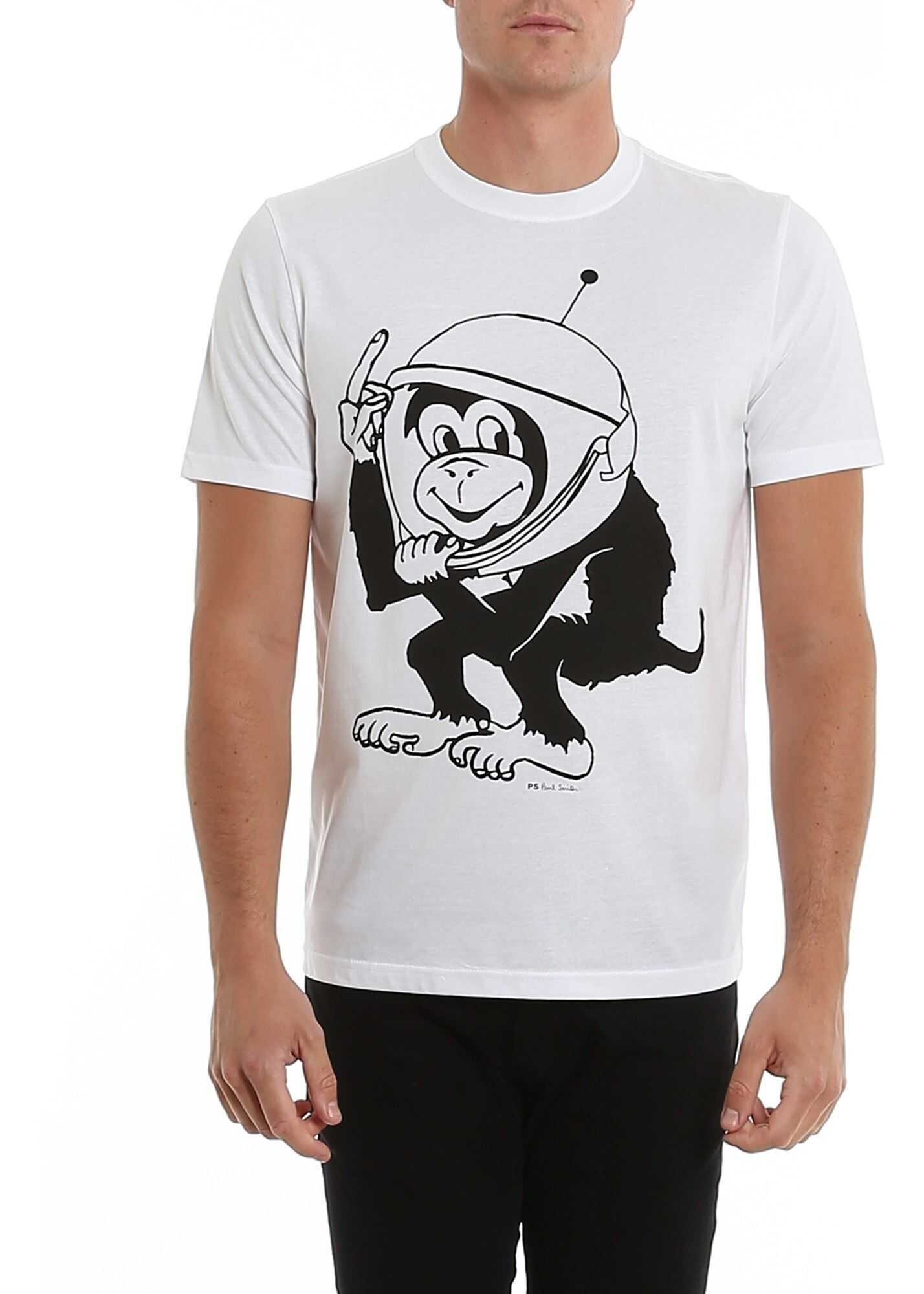 Paul Smith Space Monkey Print T-Shirt In White White