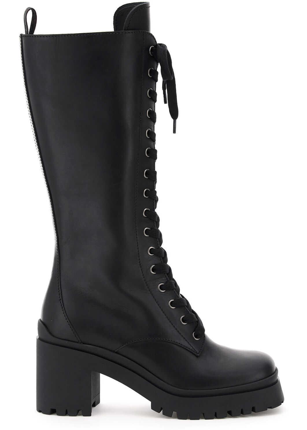 Miu Miu Leather Combat Boots 5W227D 3KL9 NERO imagine b-mall.ro