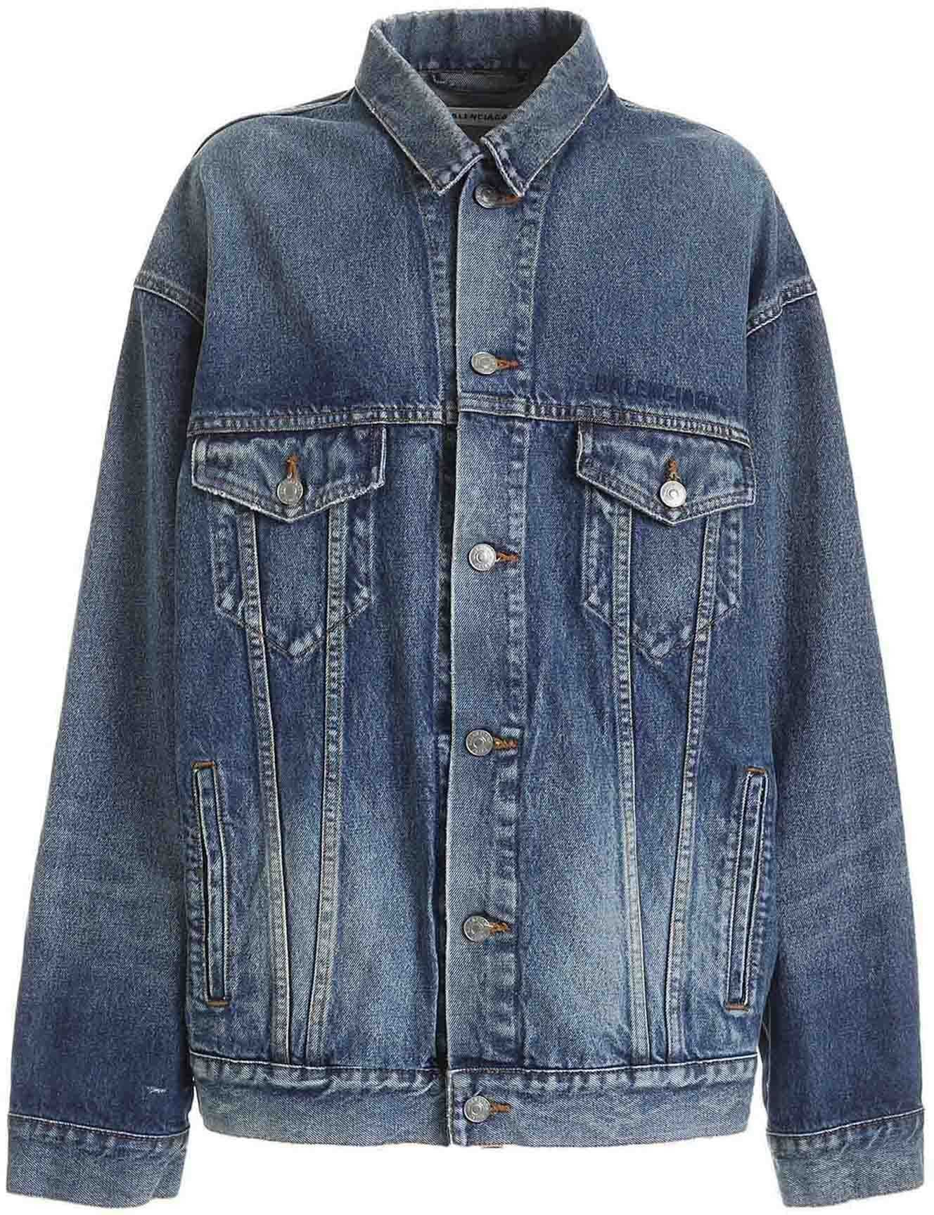 Balenciaga Logo Embroidered Denim Jacket In Blue Blue
