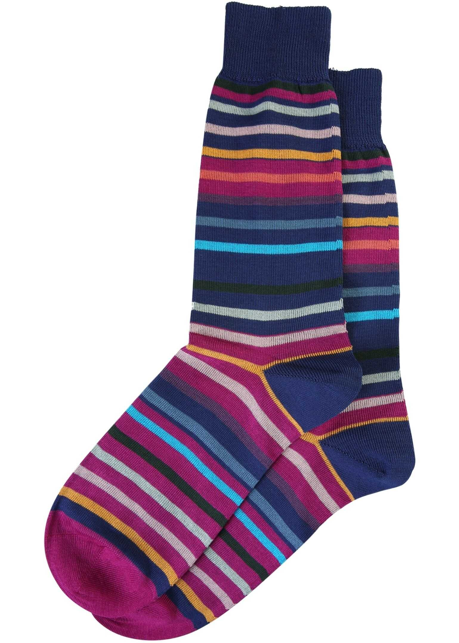 Paul Smith Striped Socks BLUE imagine