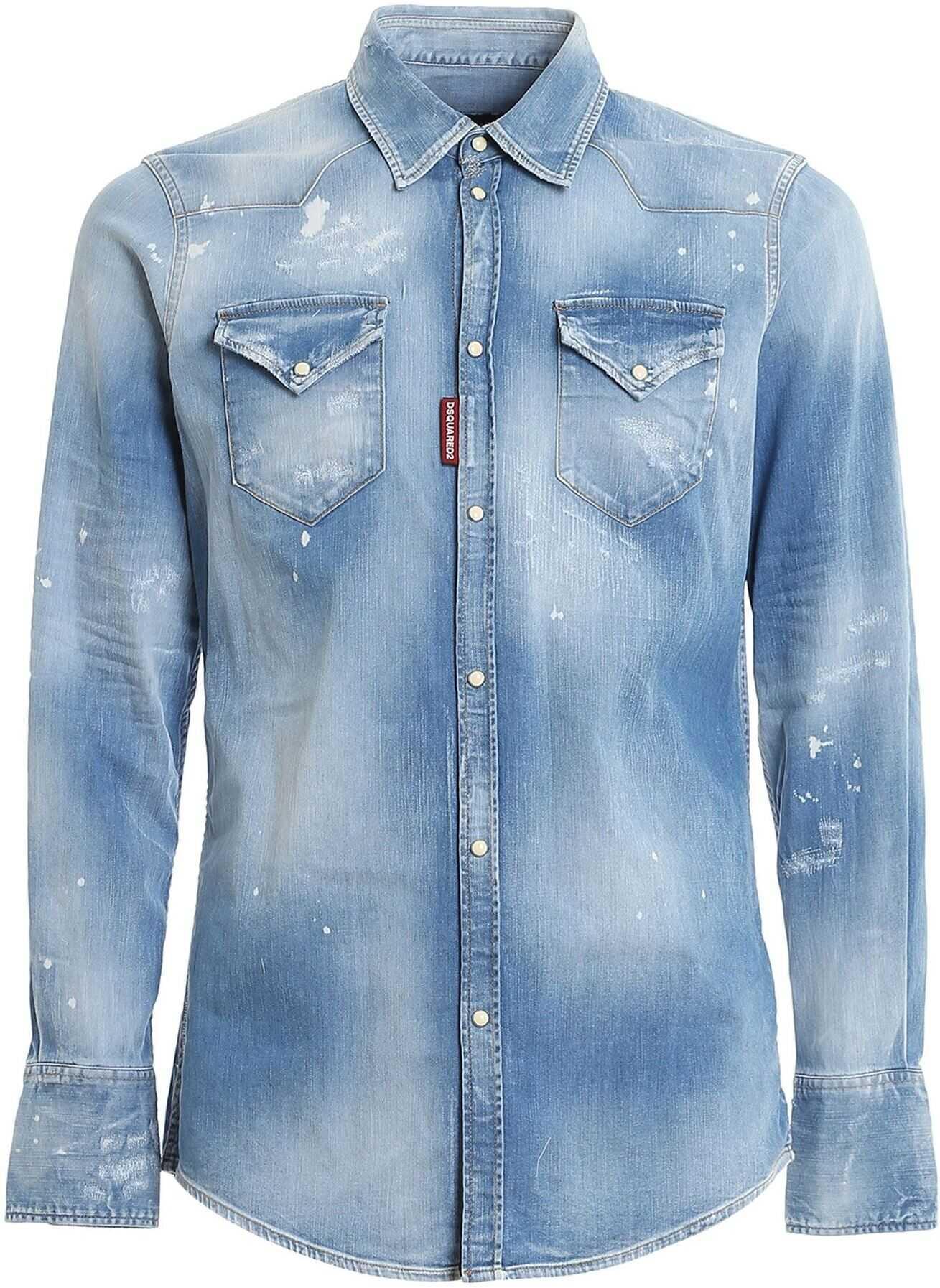 DSQUARED2 Faded Denim Shirt In Blue Light Blue imagine