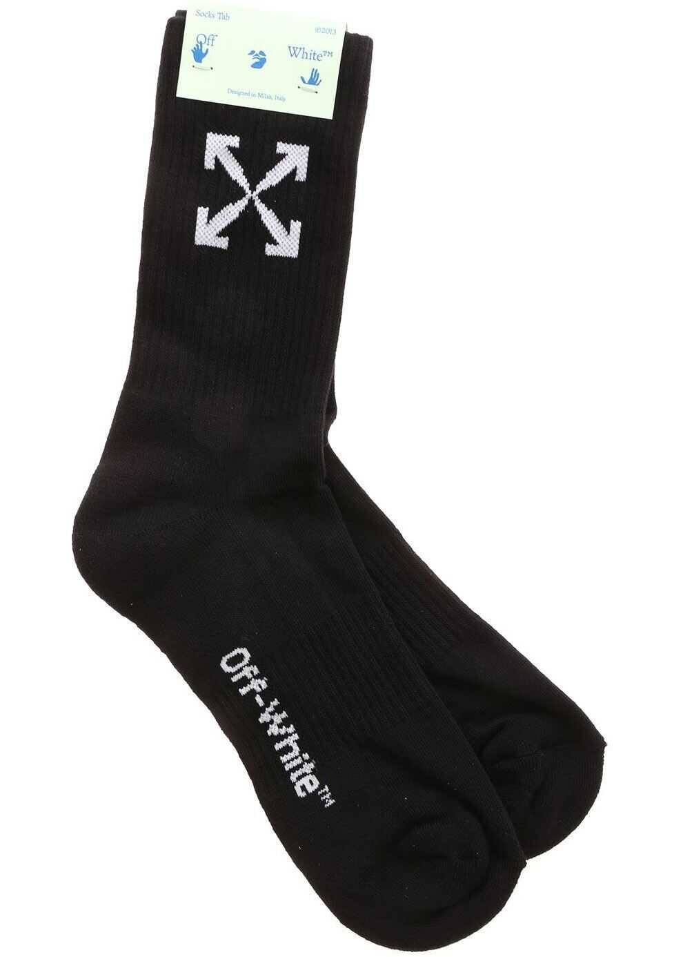 White Arrows Logo Socks In Black