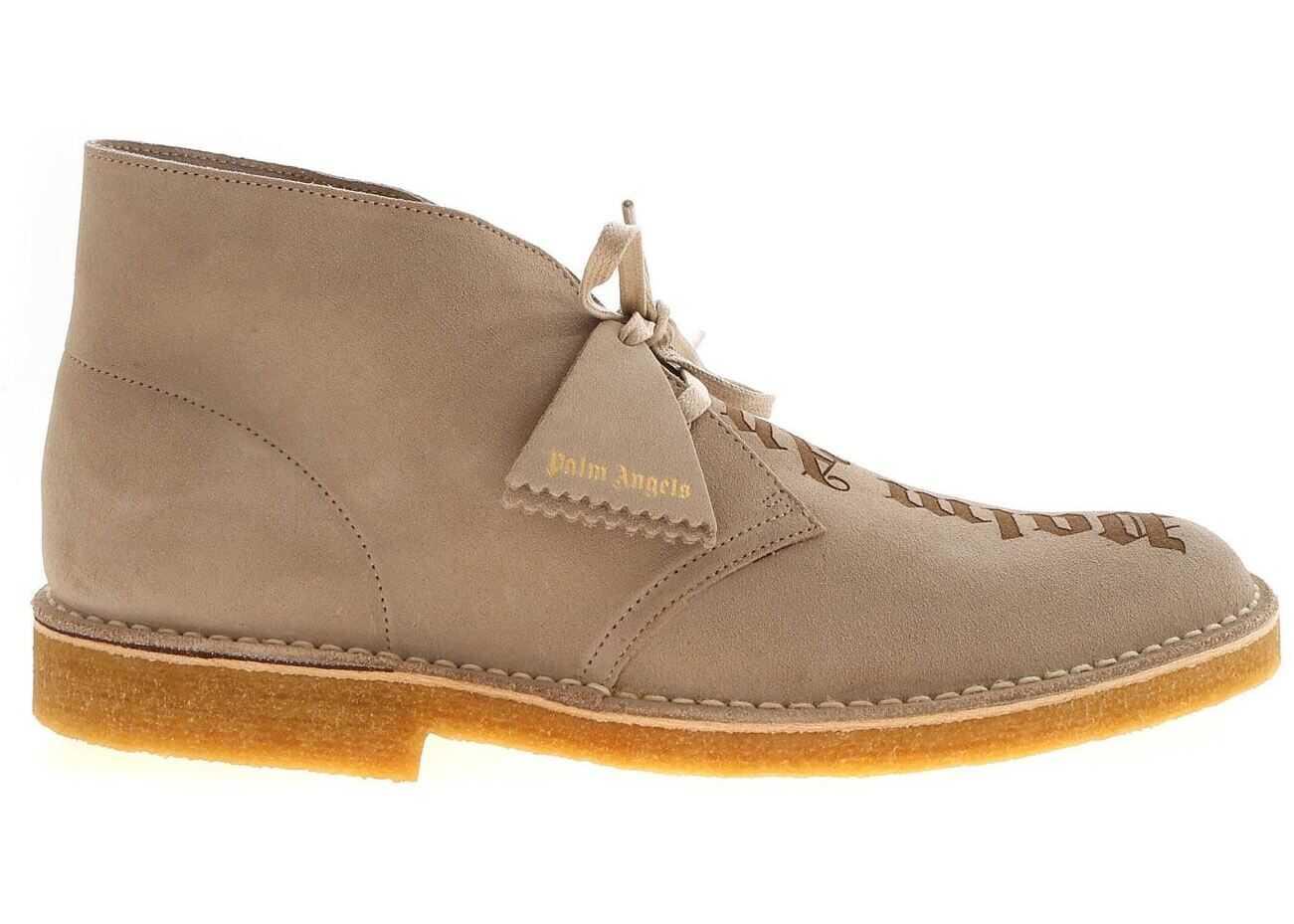Palm Angels Laser Logo Desert Shoes In Sand Color PMIA050E20LEA0021717 Beige imagine b-mall.ro