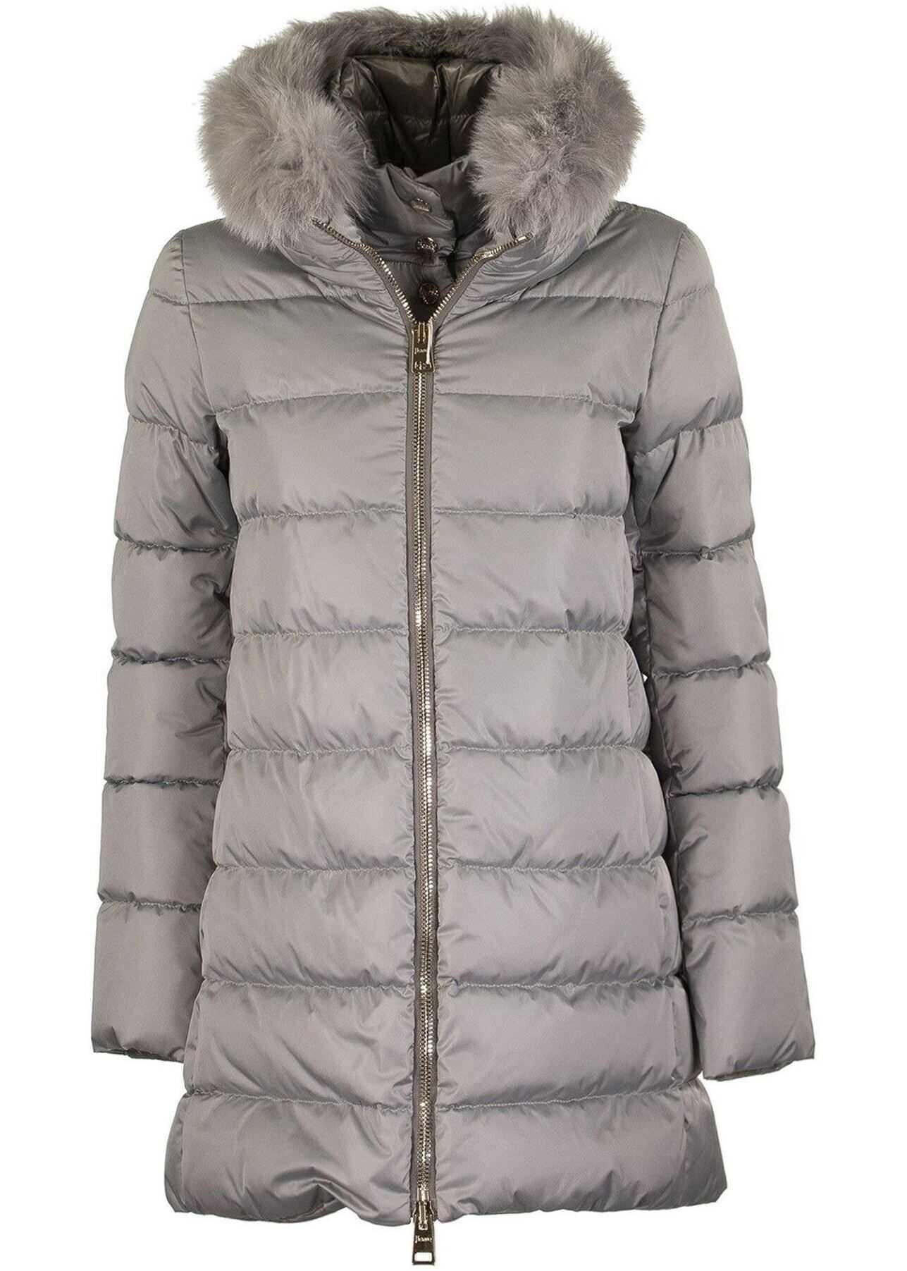 Herno Fur Trim Tech Taffeta Puffer Coat Grey