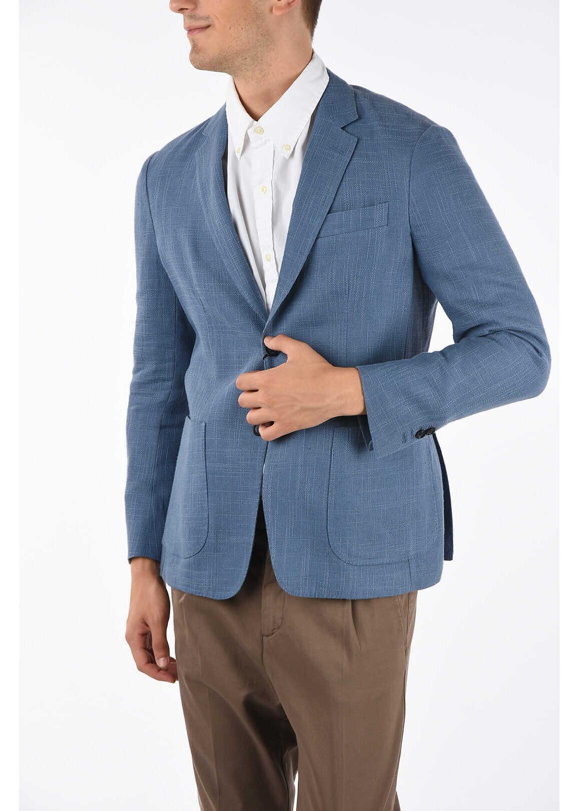 CORNELIANI ID hopsack patch pocket 2-button blazer LIGHT BLUE imagine