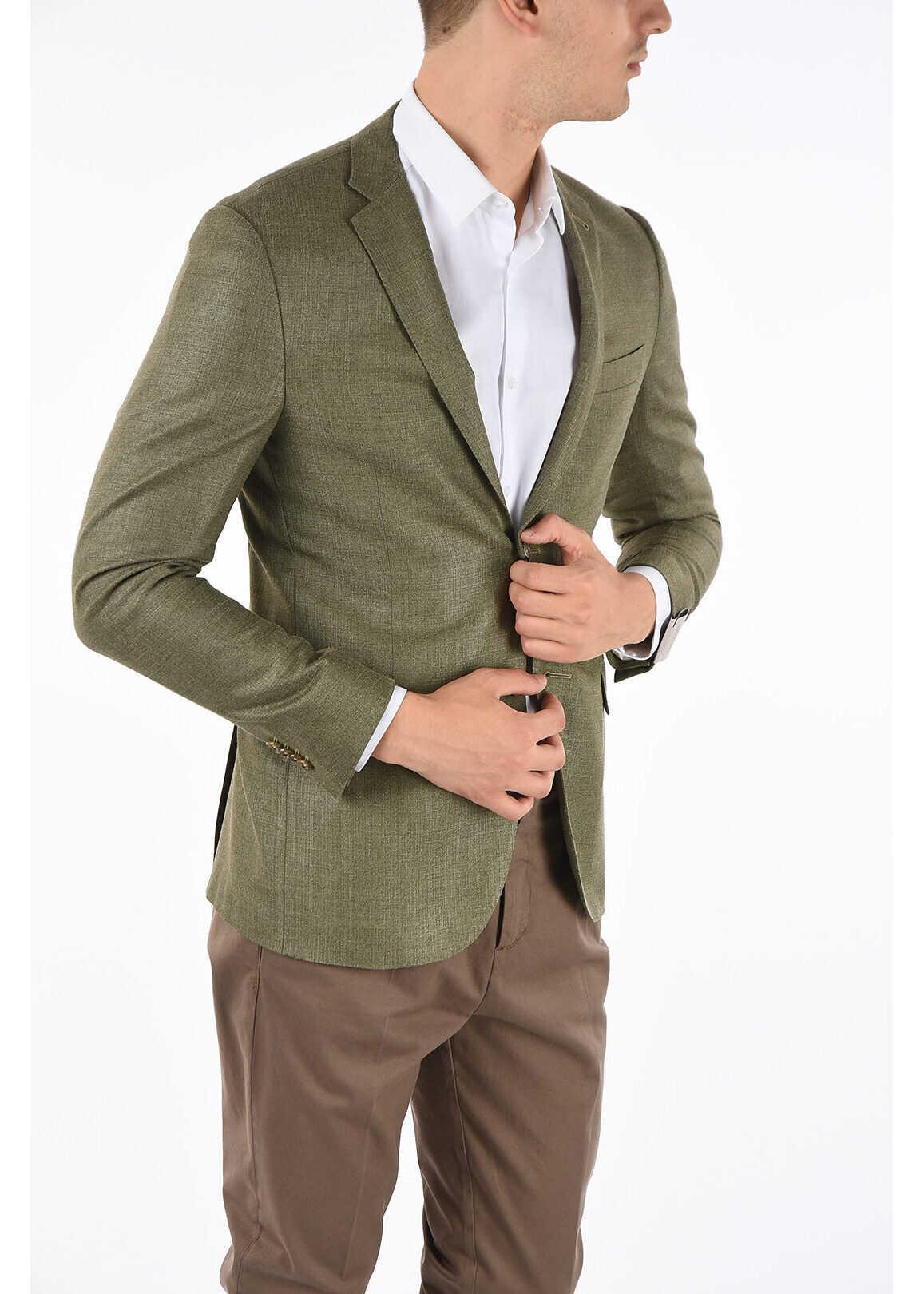CORNELIANI patch pocket GATE 2-button blazer GREEN imagine