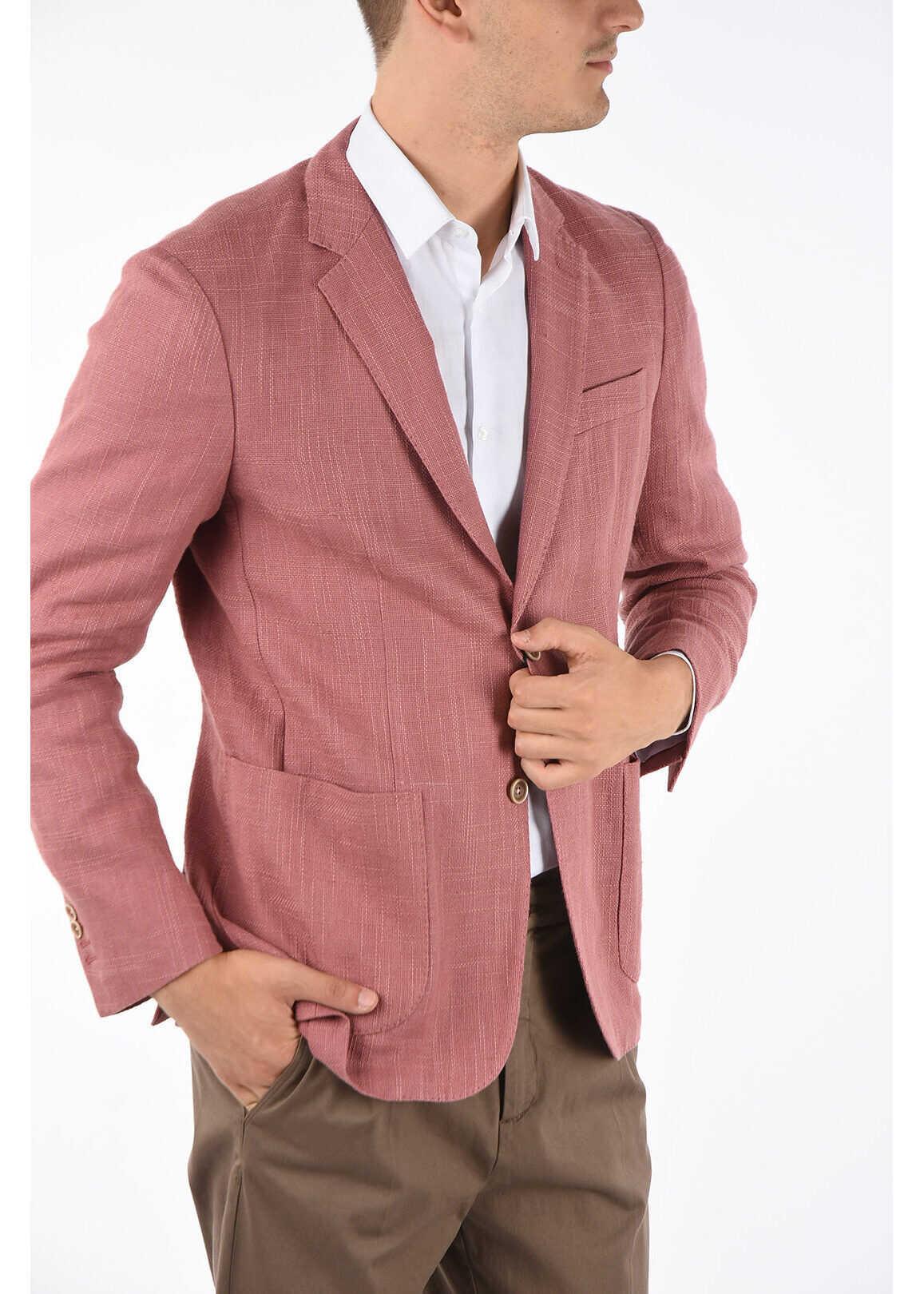 CORNELIANI ID hopsack patch pocket 2-button blazer PINK imagine