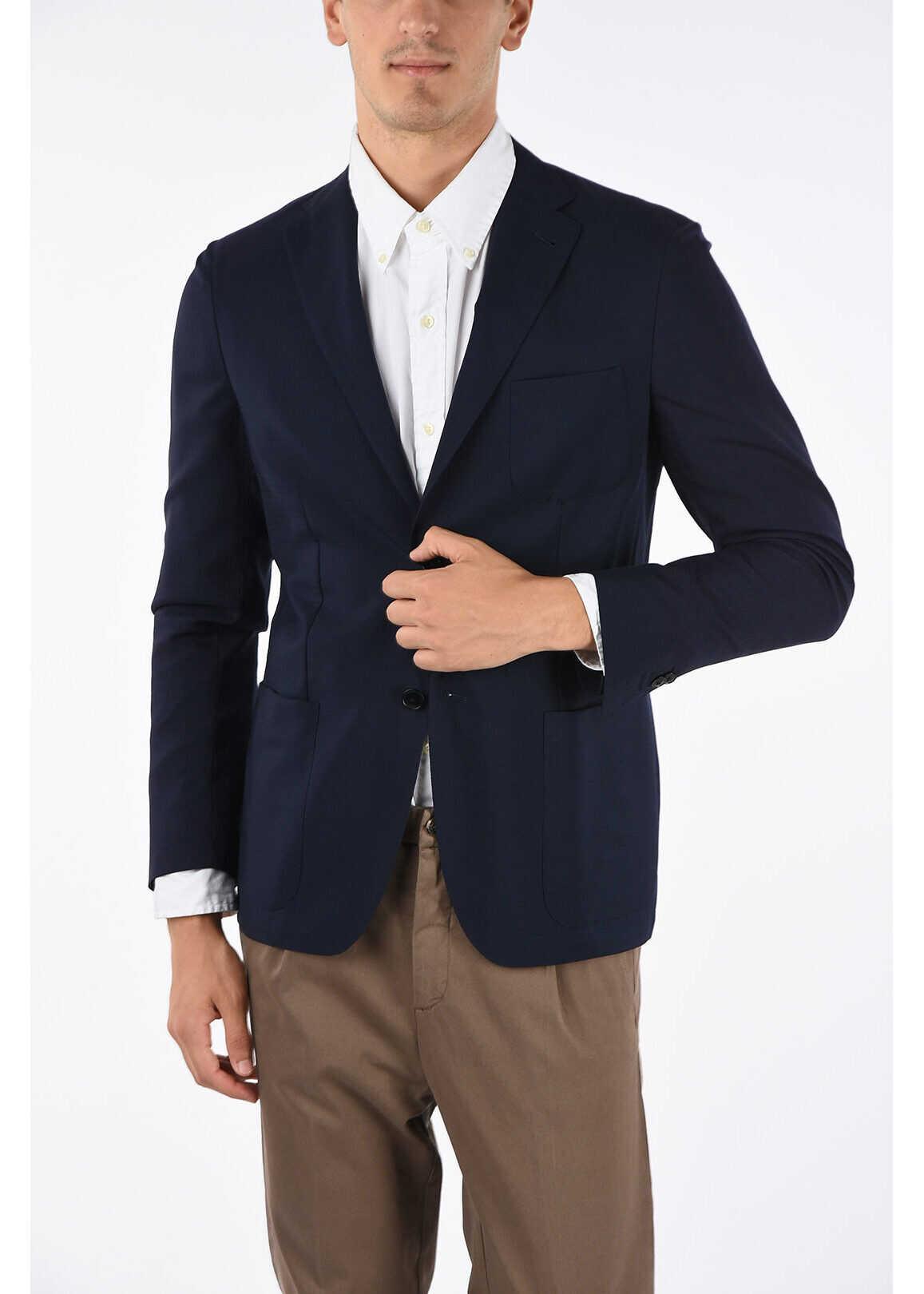 CORNELIANI ID overcheck twill side vents 2-button blazer BLUE imagine