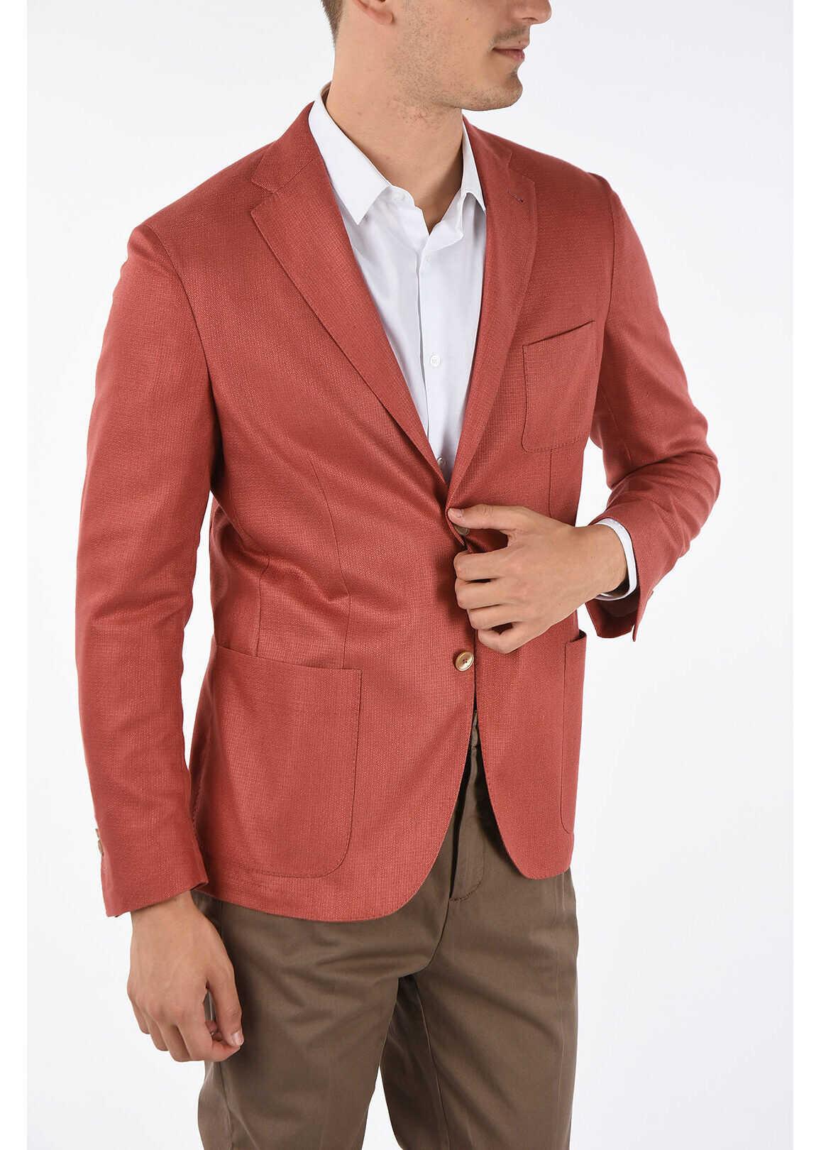 CORNELIANI ID silk IDENTITY 2-button blazer RED imagine