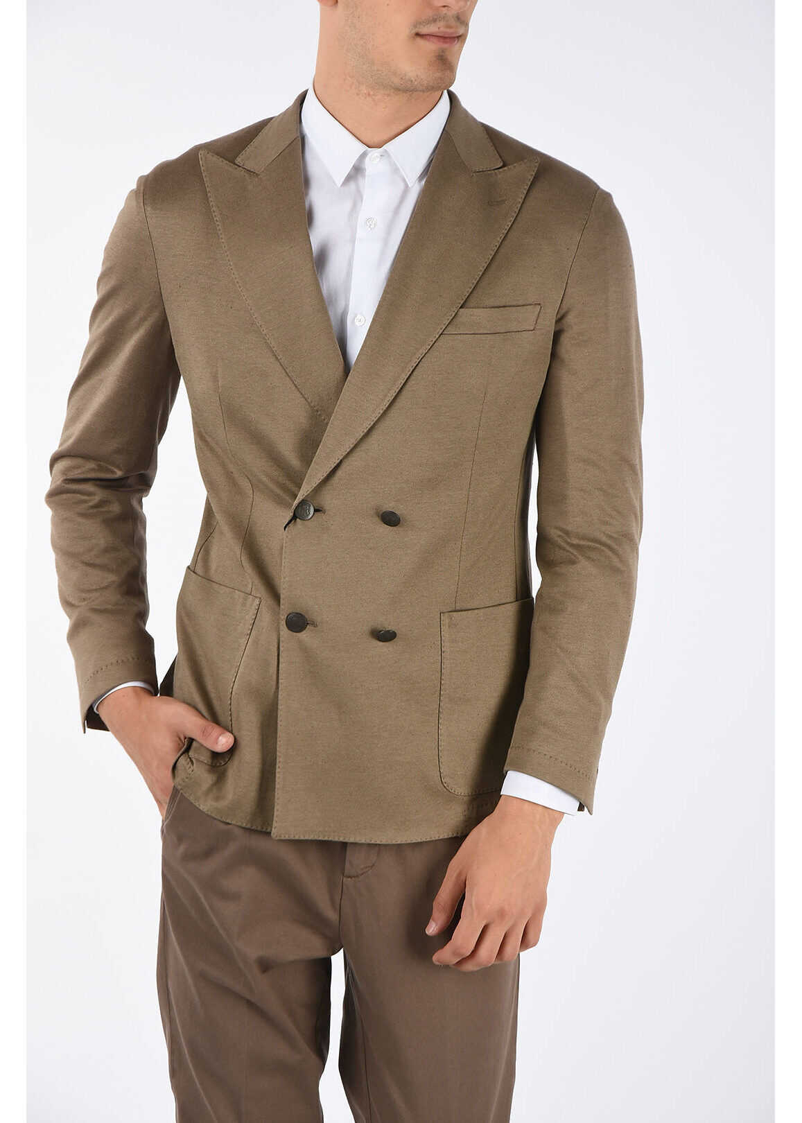 CORNELIANI ID peak lapel patch pocket double-breasted blazer BEIGE imagine