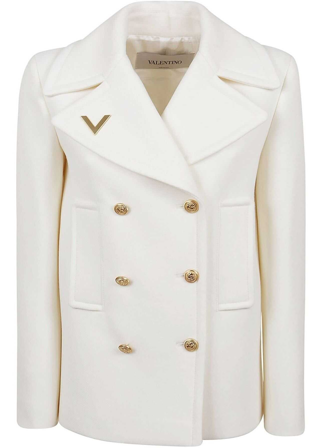 Wool Double-Breasted Coat In White