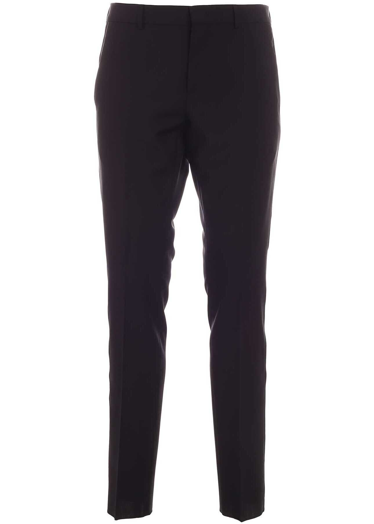 Valentino Garavani Mohair And Wool Pants In Black Black imagine