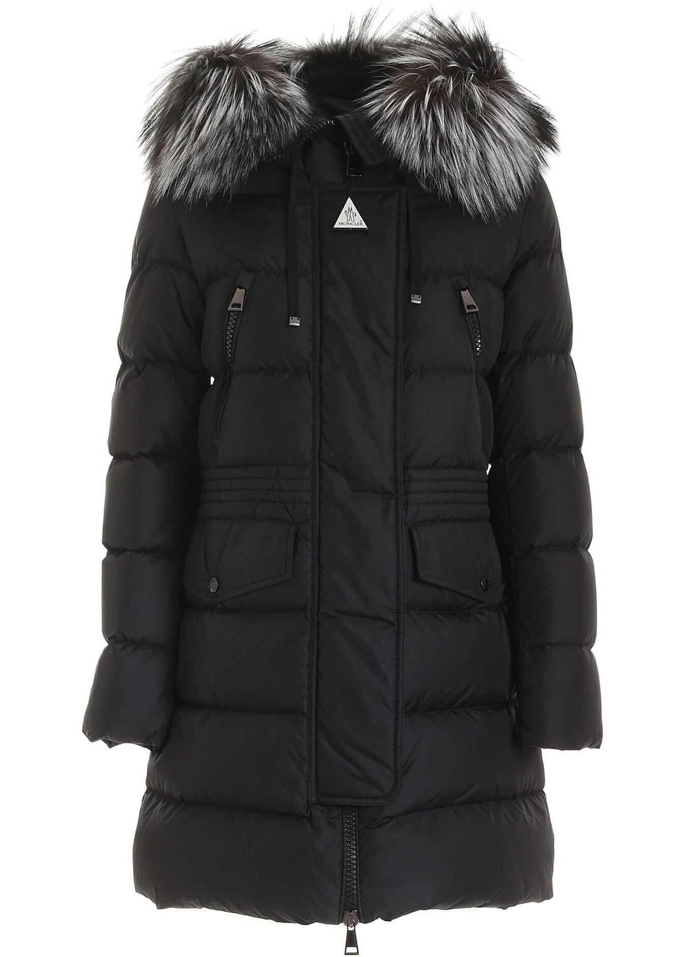 Moncler Aphroti Long Down Jacket In Black Featuring Hood Black