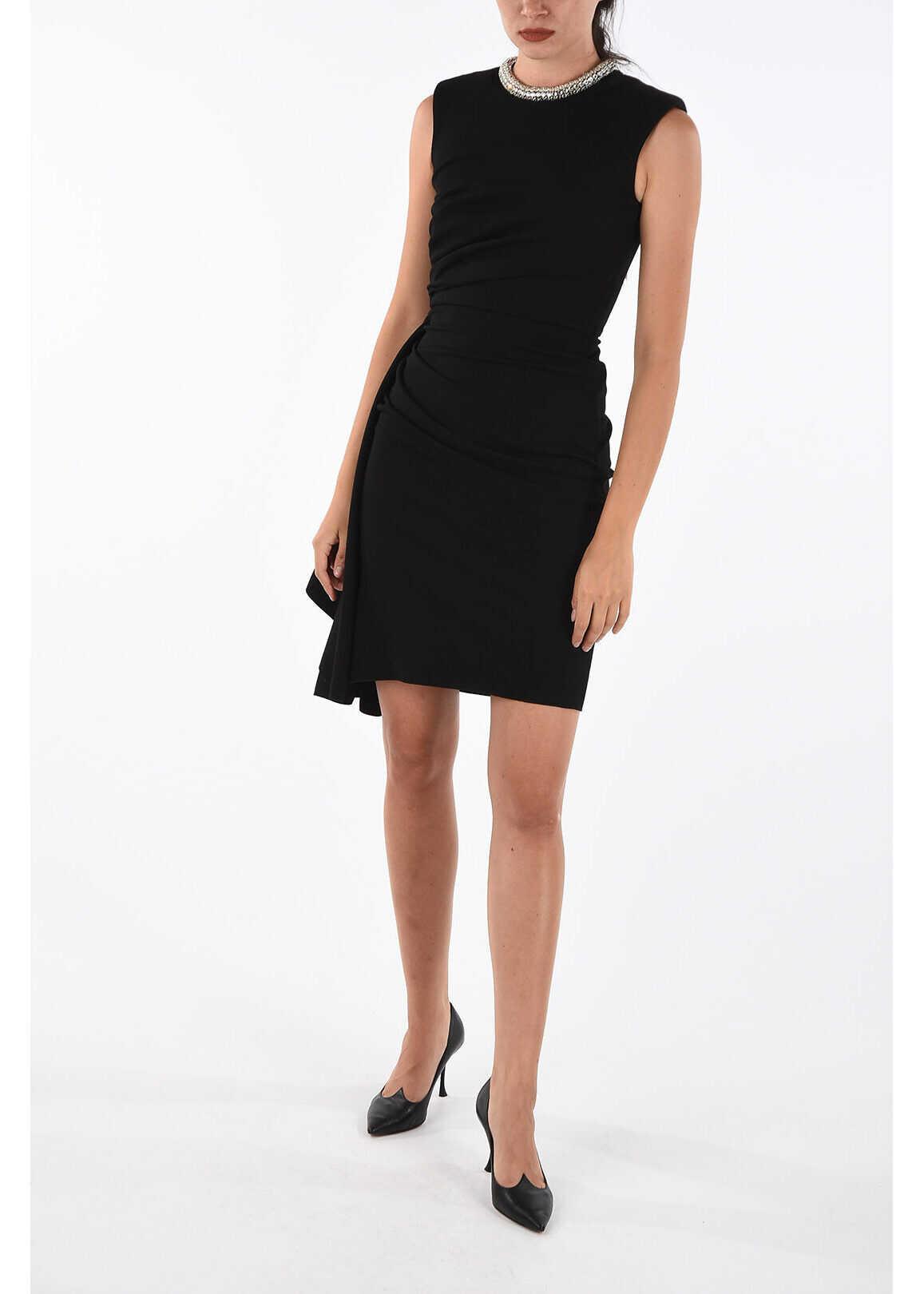 Alexander McQueen Asymmetric mini bodycon dress BLACK