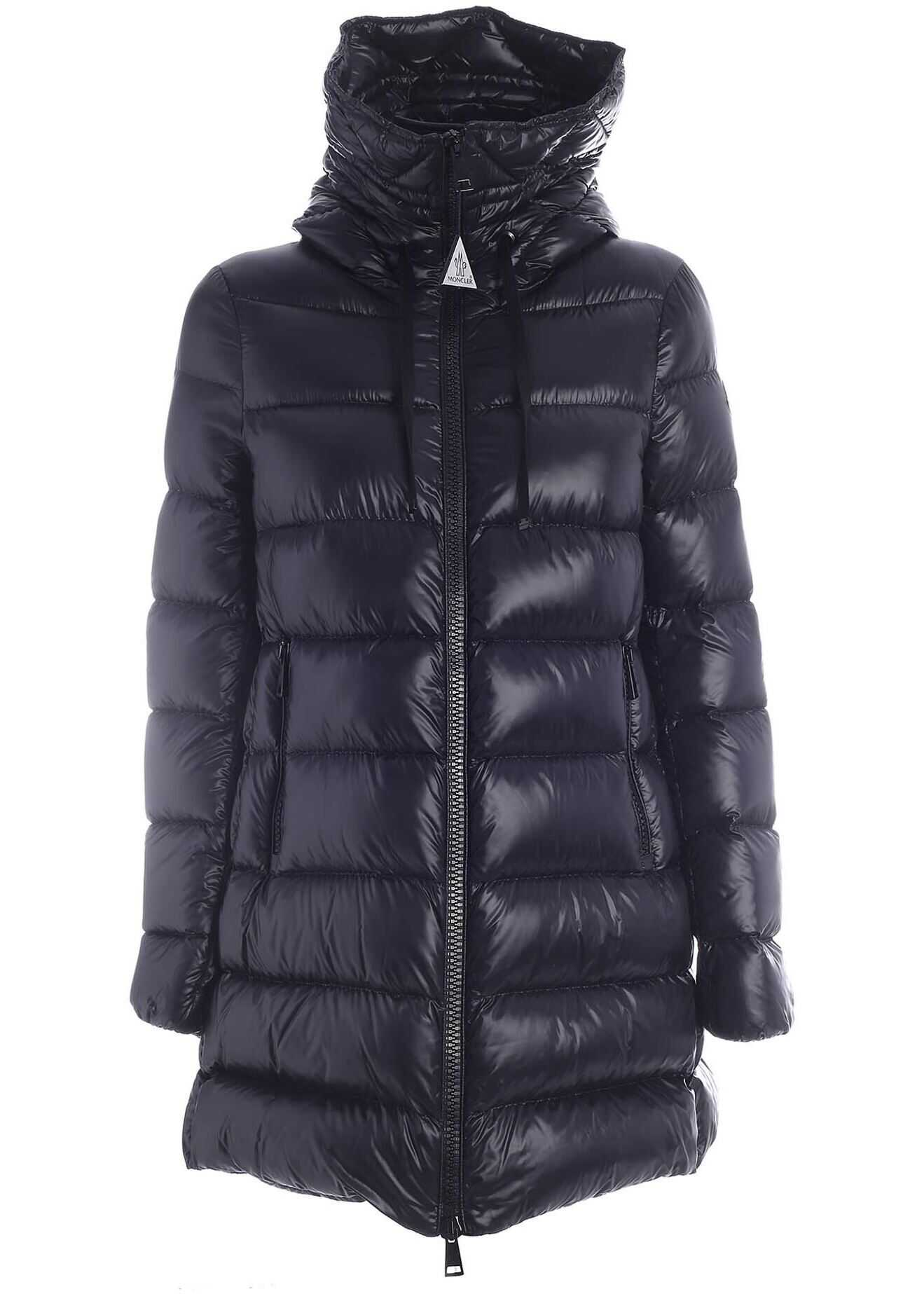 Moncler Suyen Long Down Jacket In Black Featuring Hood Black