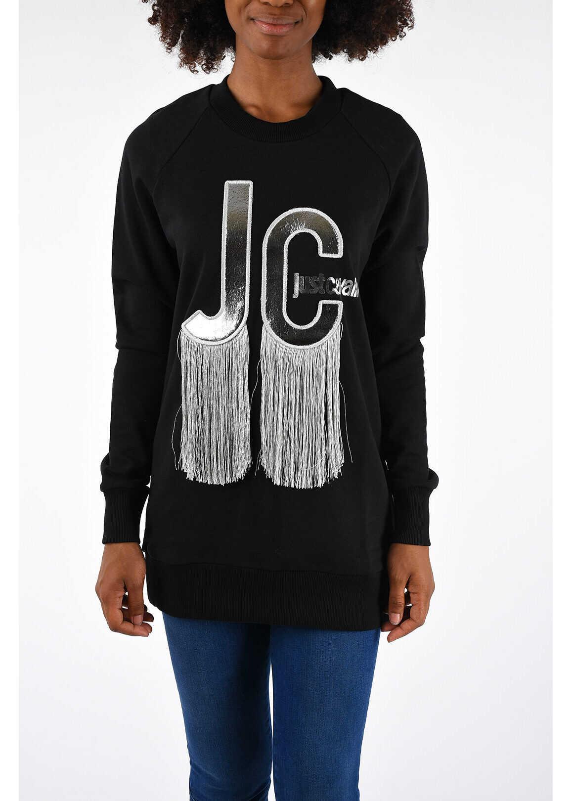Just Cavalli Fringe Sweatshirt* BLACK