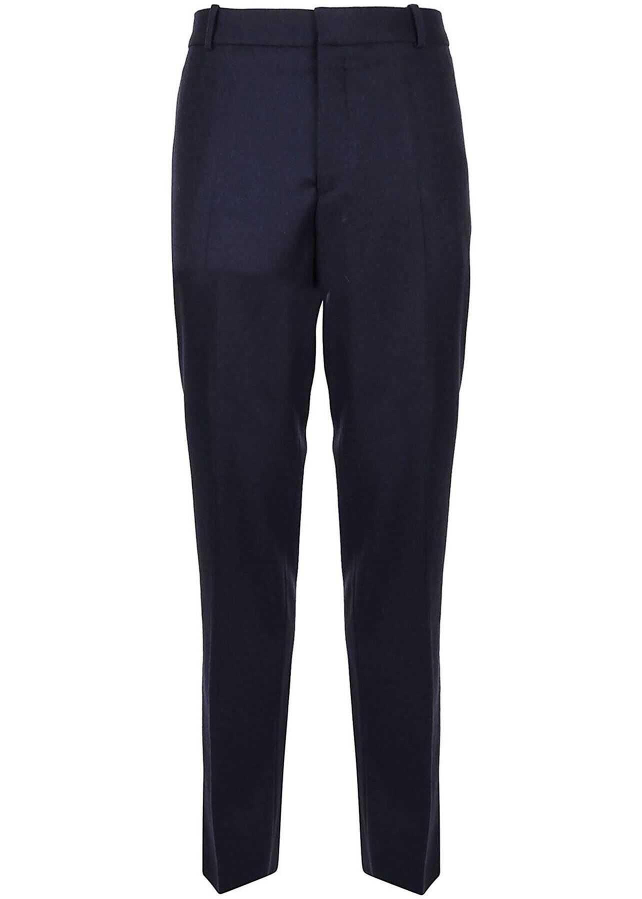 Alexander McQueen Wool Pants In Blue Blue imagine
