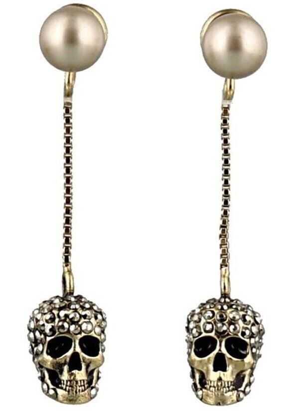 Alexander McQueen Pave Skull Earrings Gold