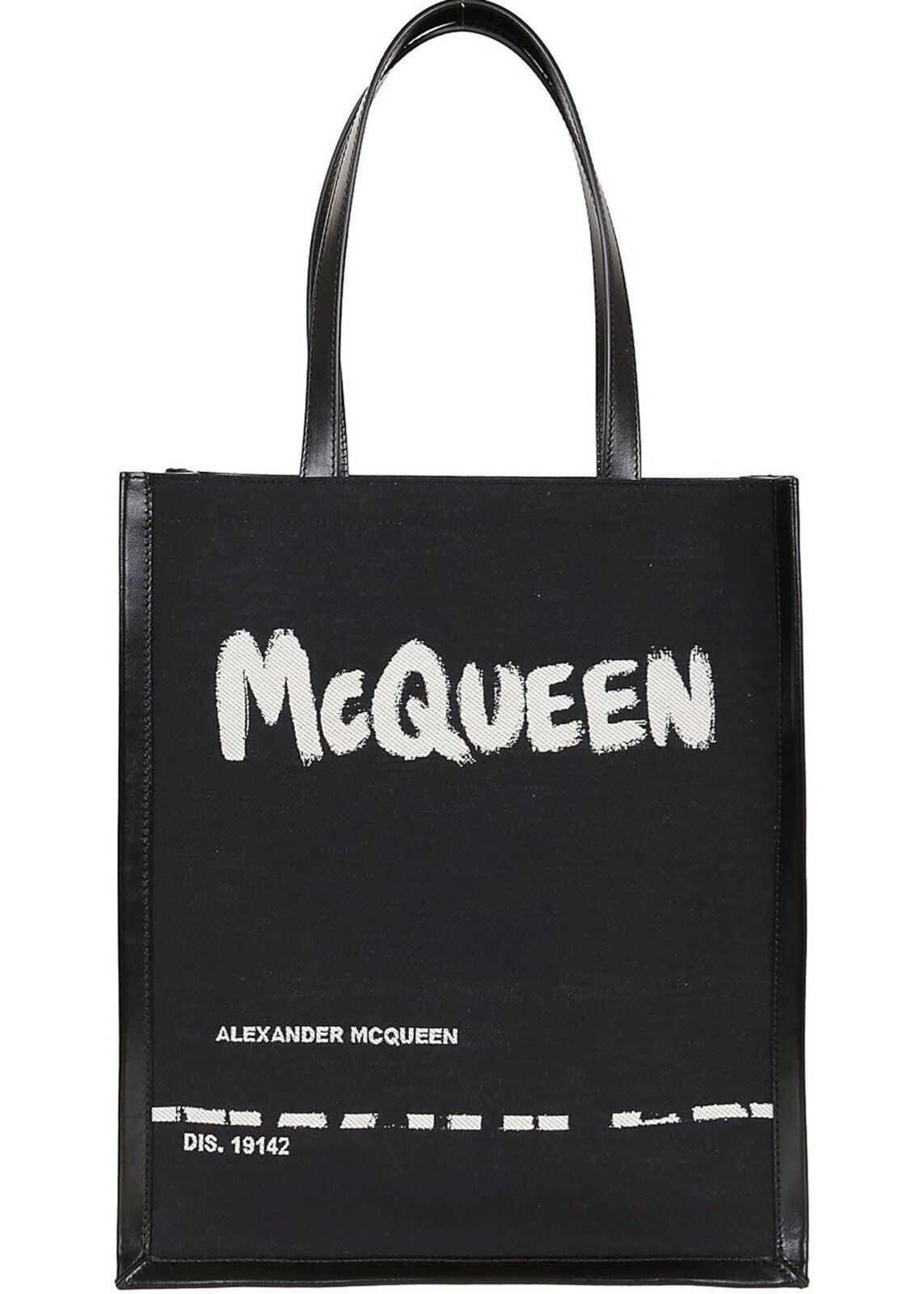 Alexander McQueen Graffiti Logo Tote Bag In Black 625509 2B410 1073 Black imagine b-mall.ro