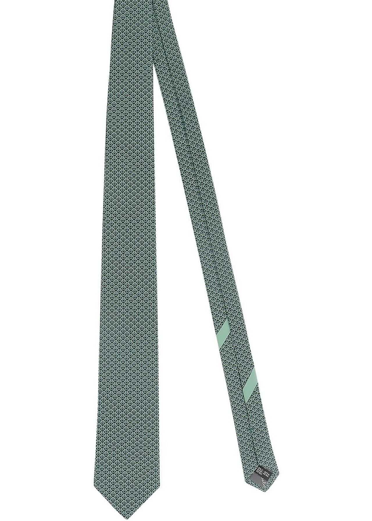Salvatore Ferragamo Printed Silk Tie In Green Green