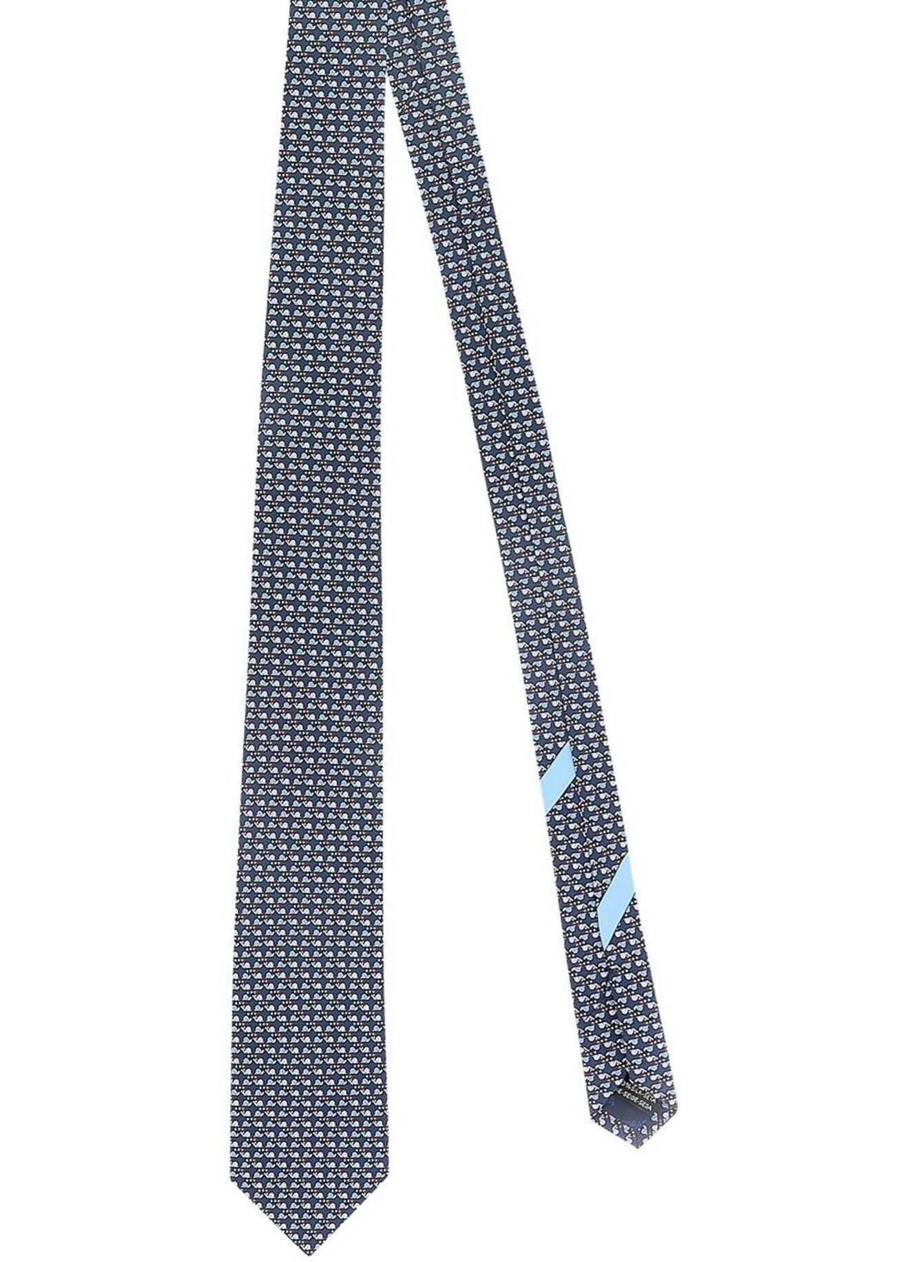 Salvatore Ferragamo Snail Printed Tie In Blue Blue