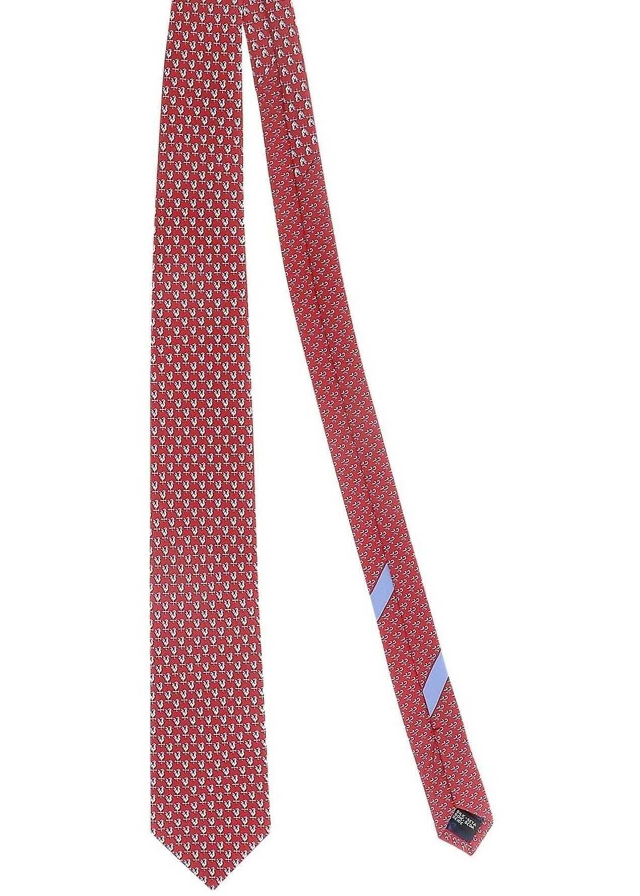 Salvatore Ferragamo Chickens Patterned Tie In Red Red