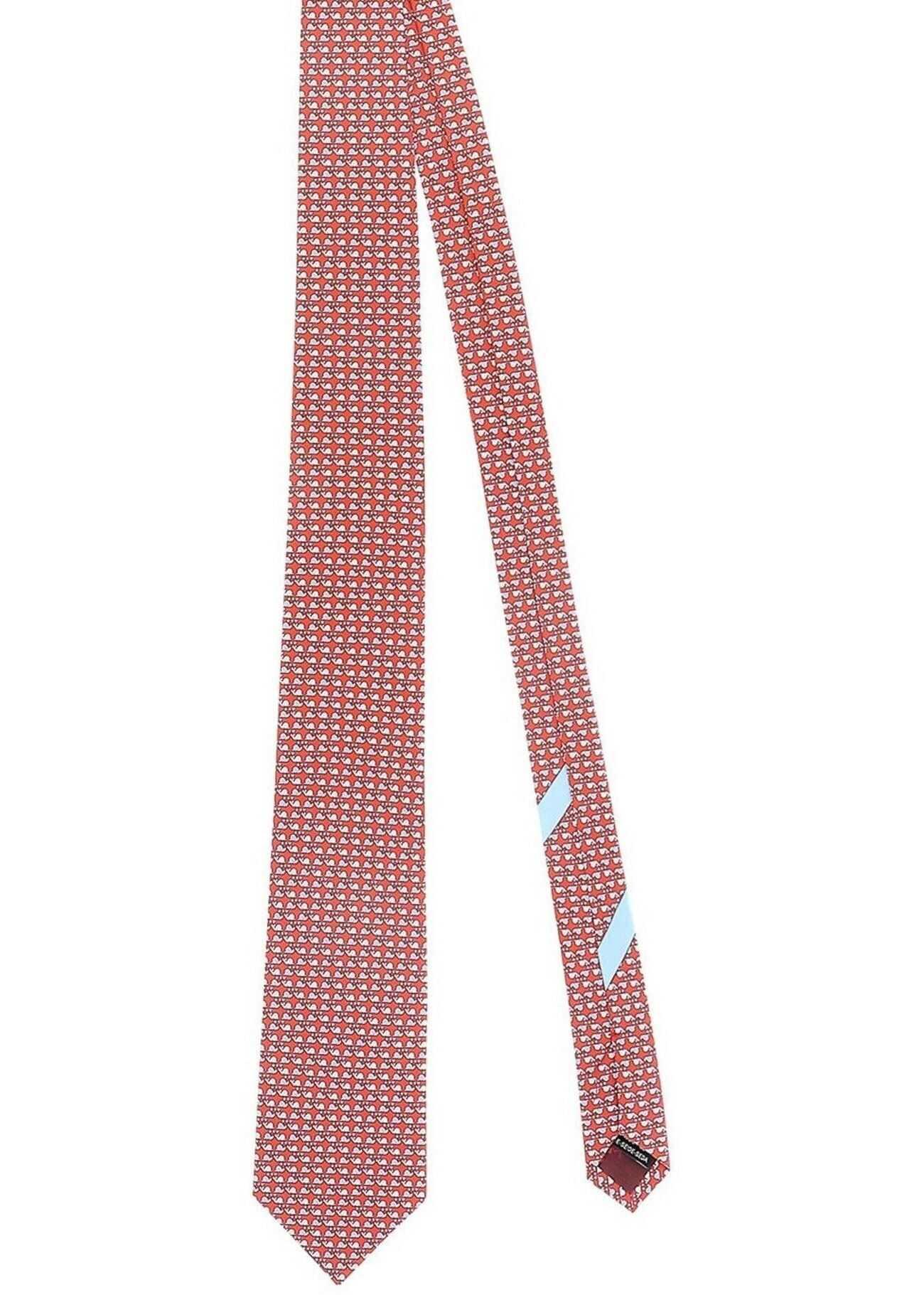 Salvatore Ferragamo Snail Printed Tie In Red Red