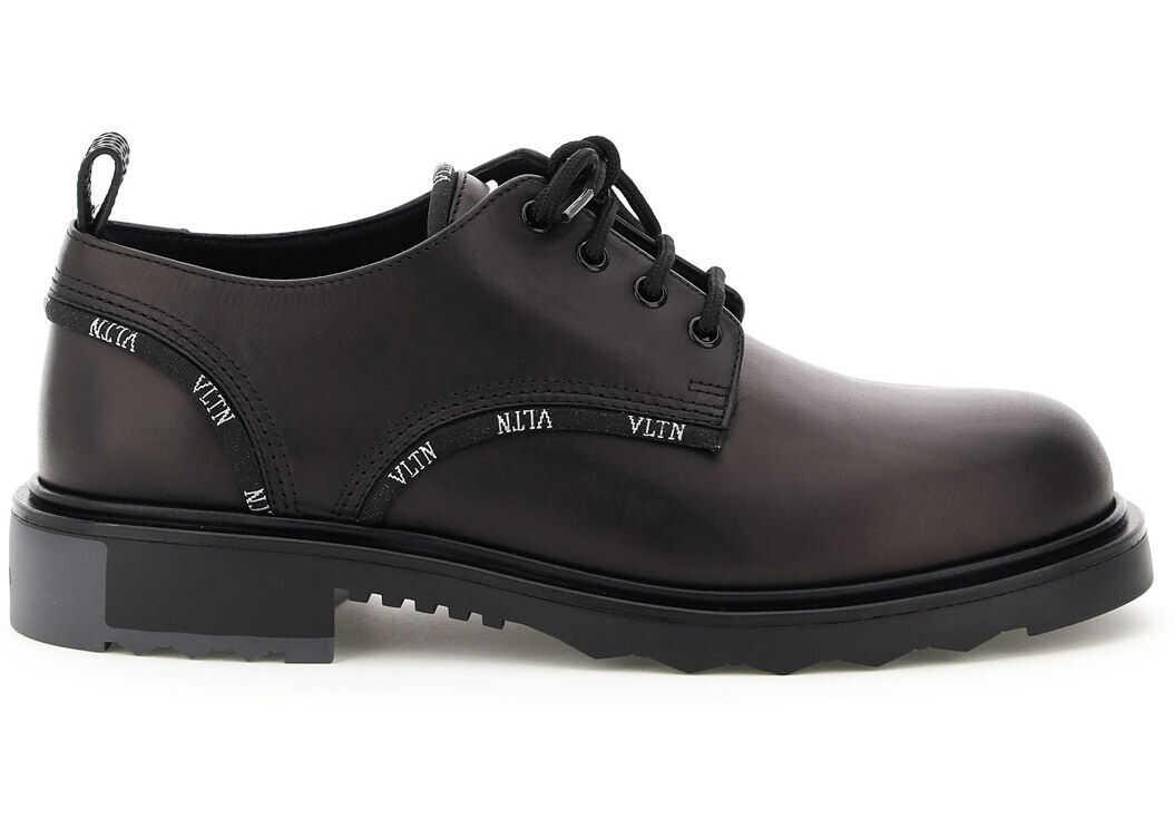 Valentino Garavani Vltn Lace-Up Shoes UY2S0C89KWS NERO NERO BIANCO NERO DARK GREY imagine b-mall.ro