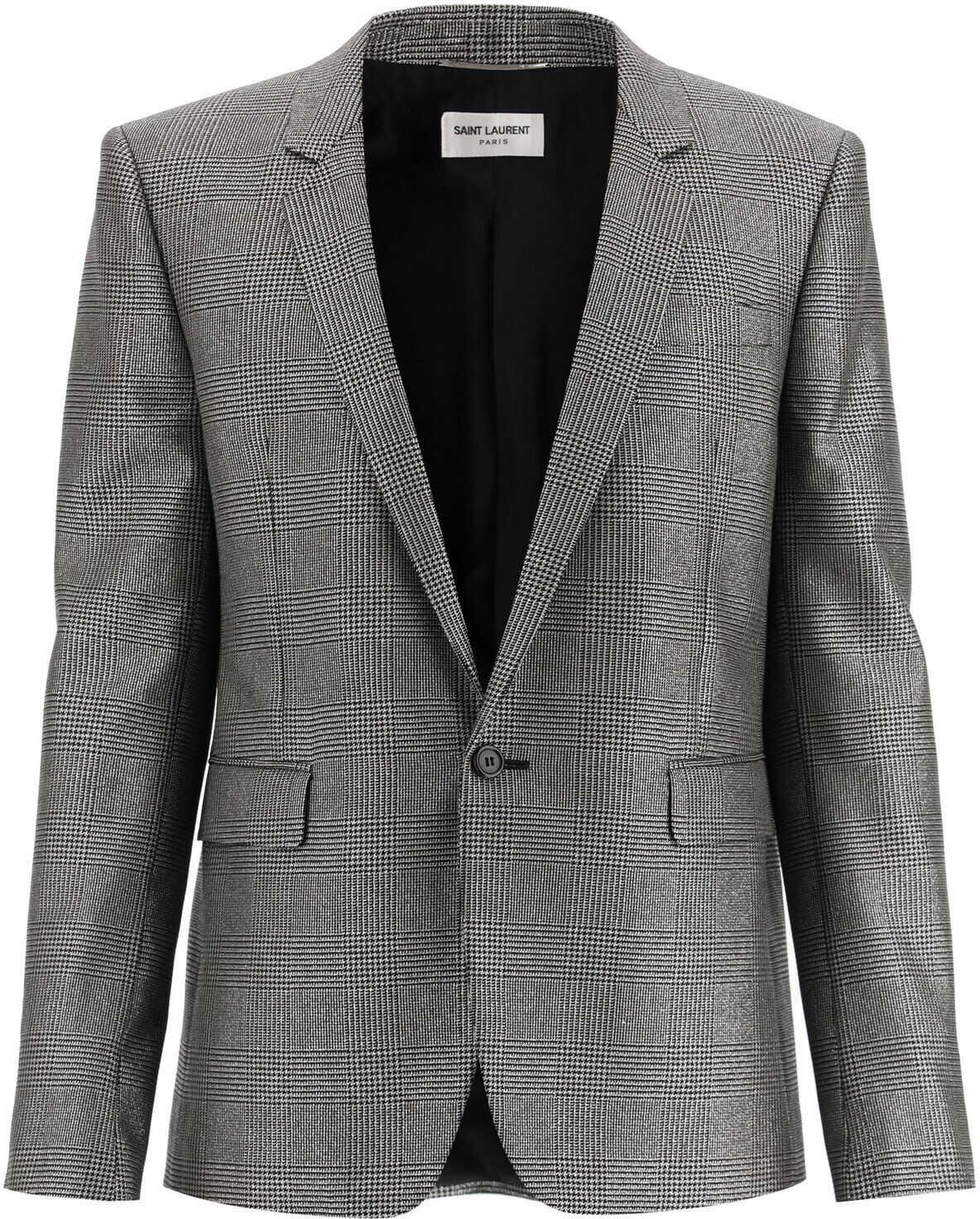 Saint Laurent Prince Of Wales Lame Jacket NOIR ARGENT imagine