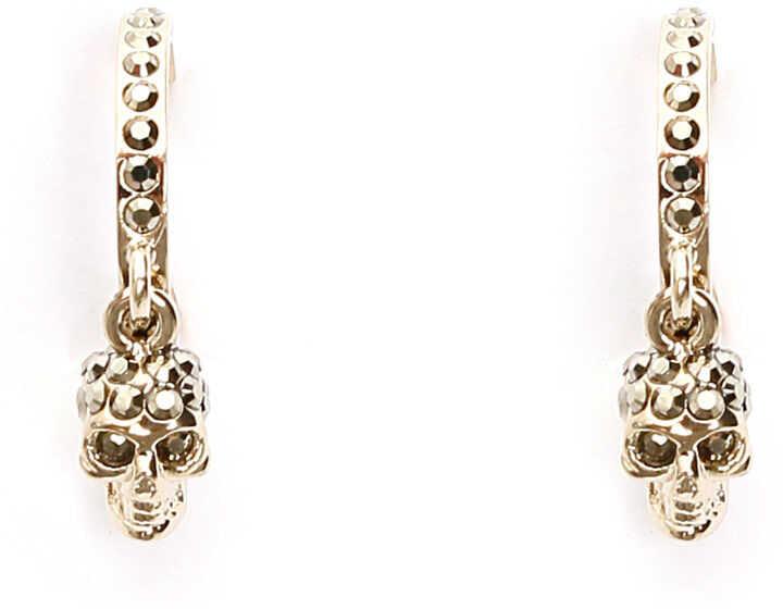 Alexander McQueen Pave Skull Hoop Earrings METAL GOLD