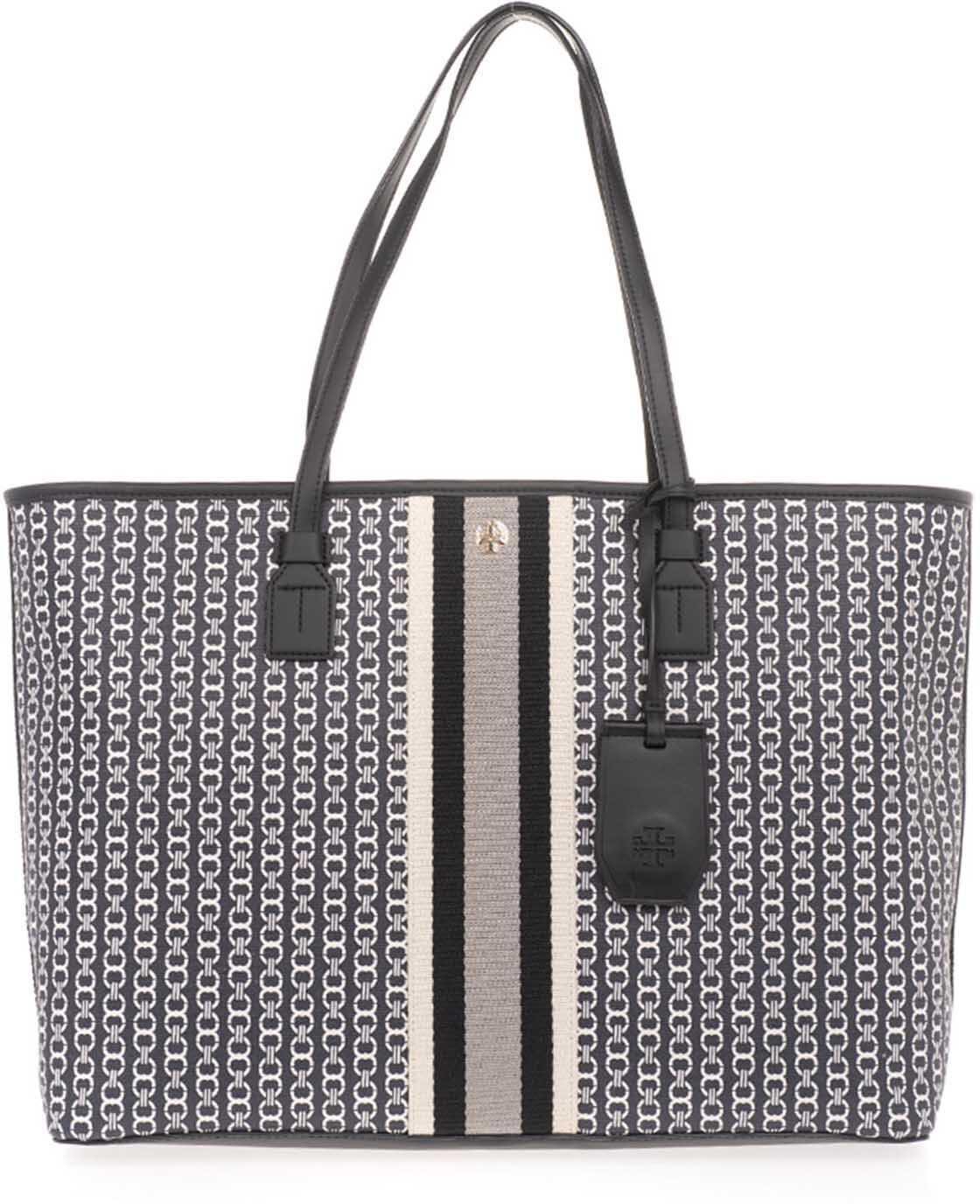 Tory Burch Gemini Link Canvas Tote Bag In Black 58450 892 Black imagine b-mall.ro