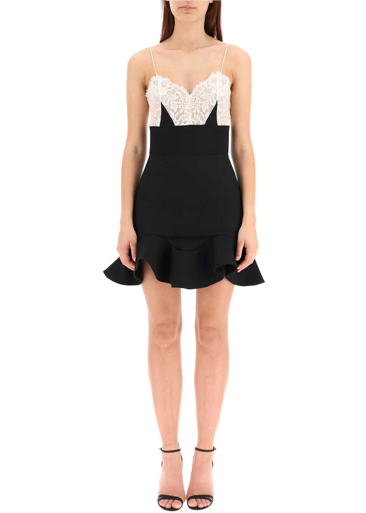 Alexander McQueen Mini Dress With Lace BLACK IVORY