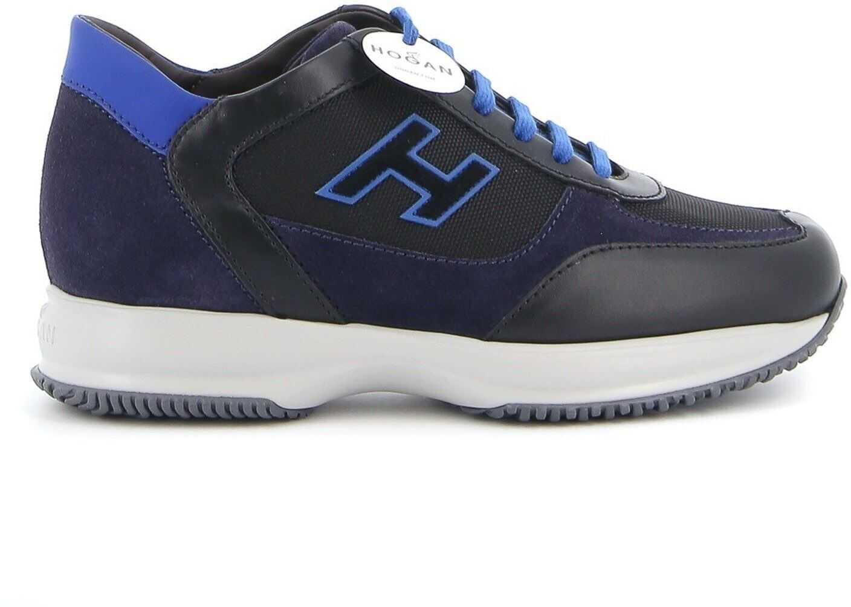Hogan Interactive Sneakers In Black And Blue HXM00N0Q101O8N718N Black imagine b-mall.ro