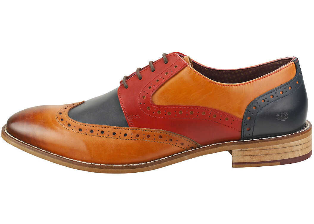 London Brogues Tommy Four Eyelet Brogue Shoes In Tan Navy Red Tan