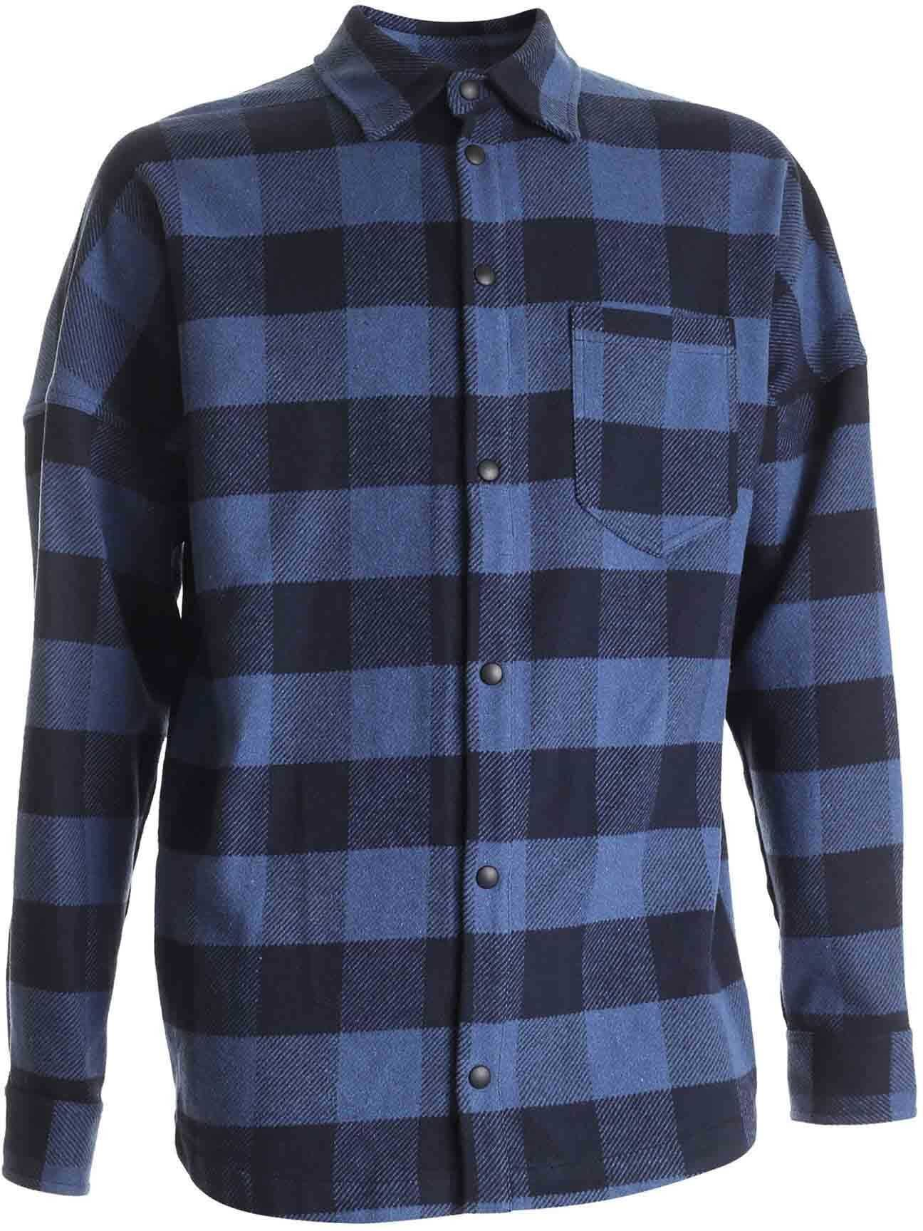 Palm Angels Checked Shirt In Black And Blue Blue imagine