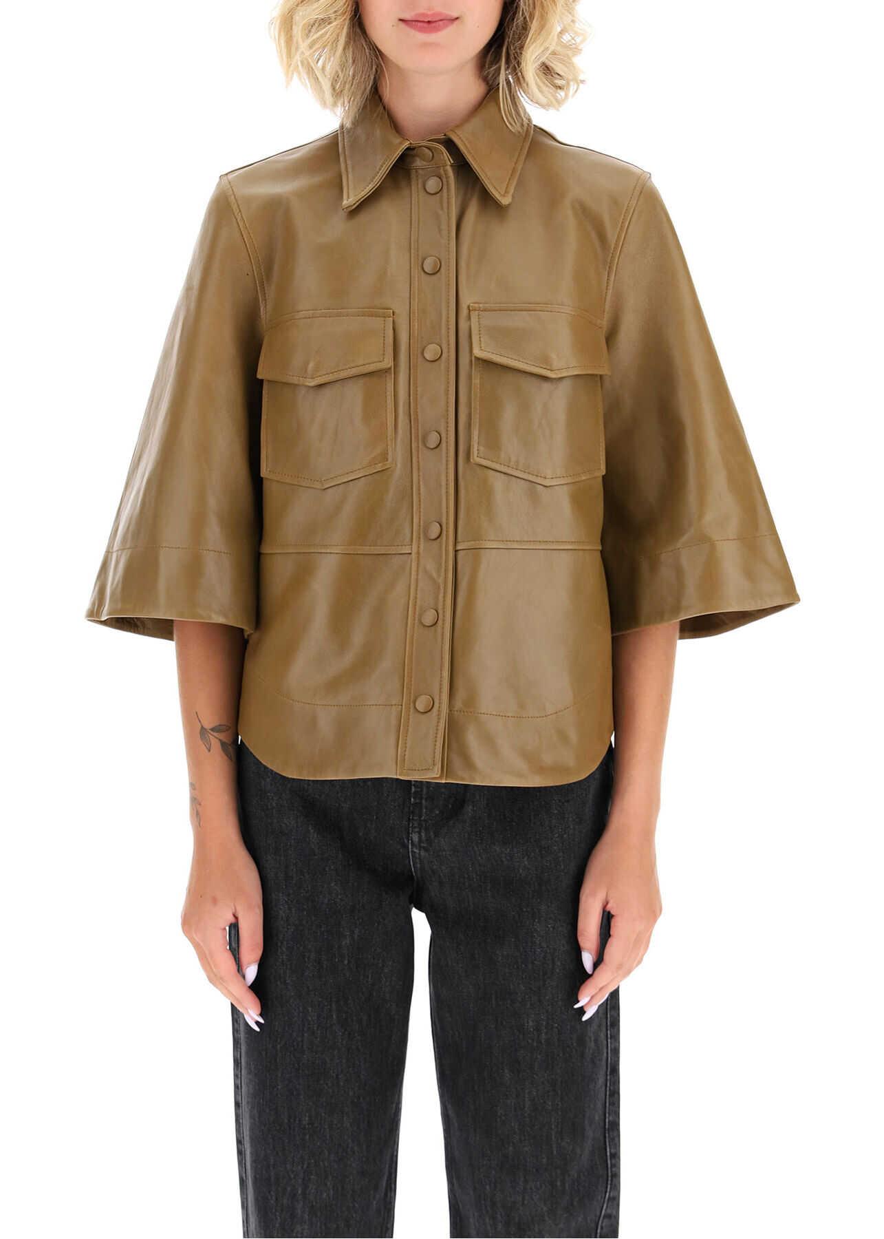 Ganni Leather Shirt F4945 TIGERS EYE image0