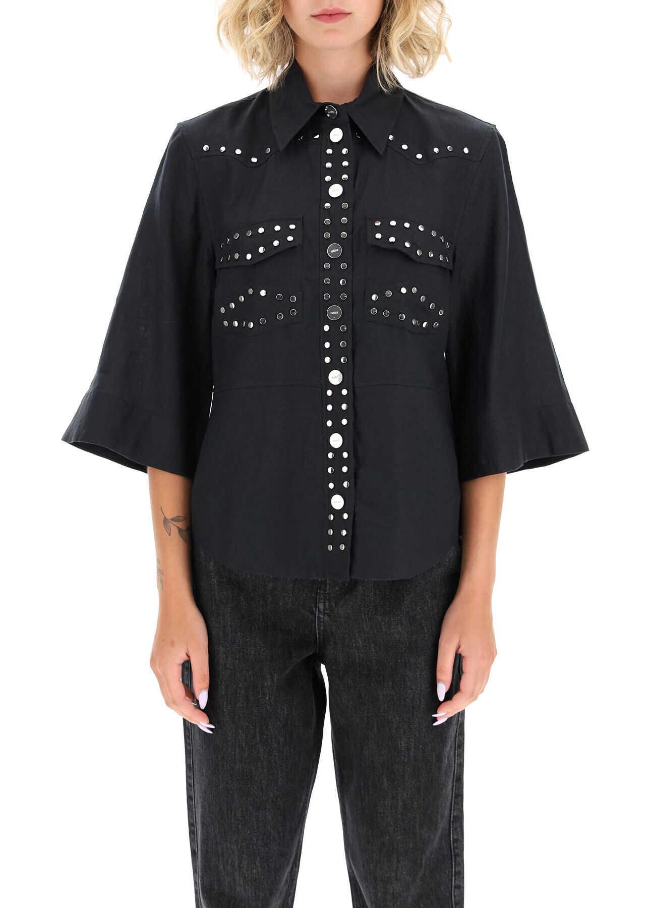 Ganni Studded Shirt F4734 PHANTOM image0