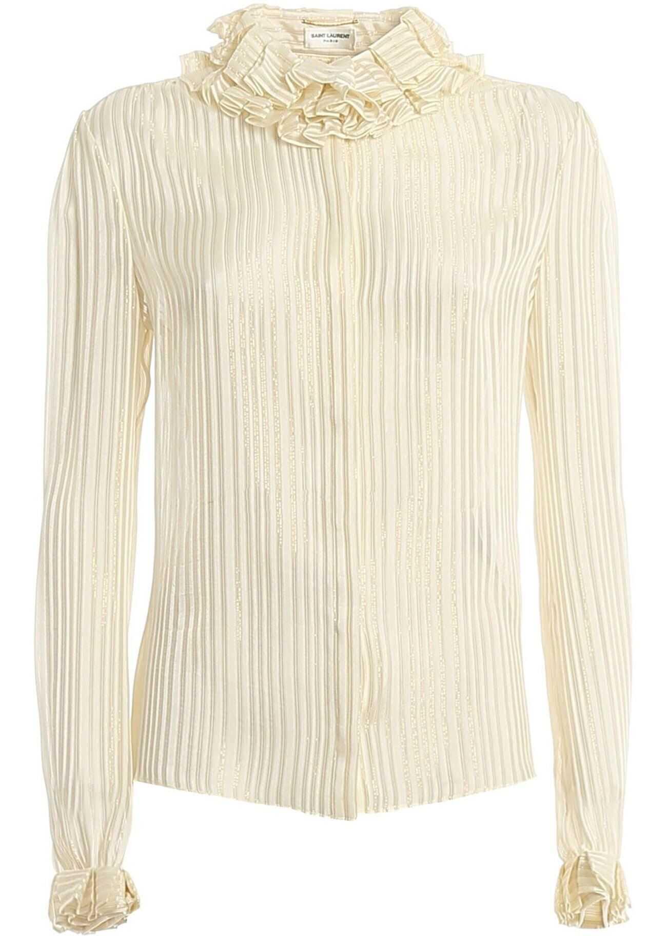 Saint Laurent Pierrot Collar Silk Shirt In Cream Color Cream