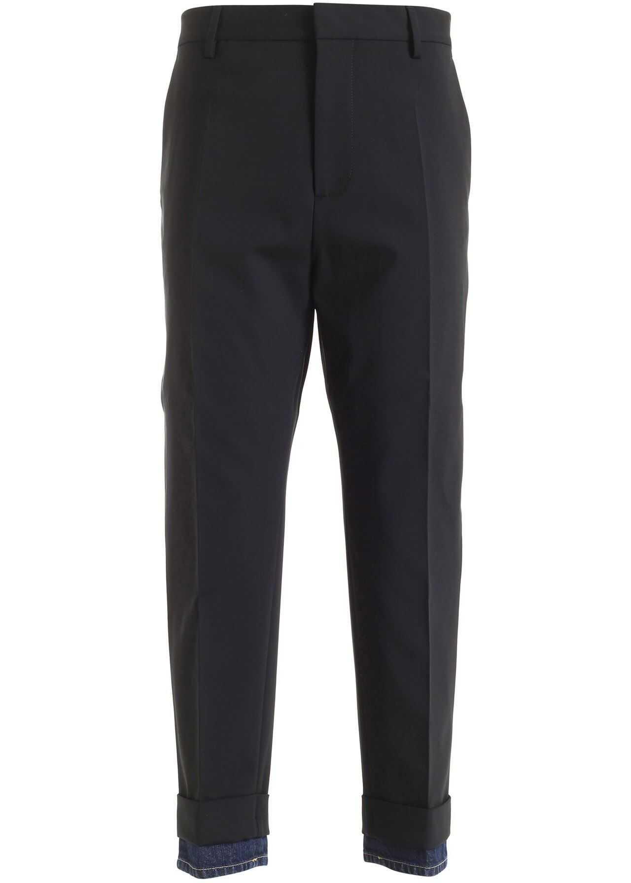DSQUARED2 Black Cigarette Pants Featuring Denim Bottom Black imagine