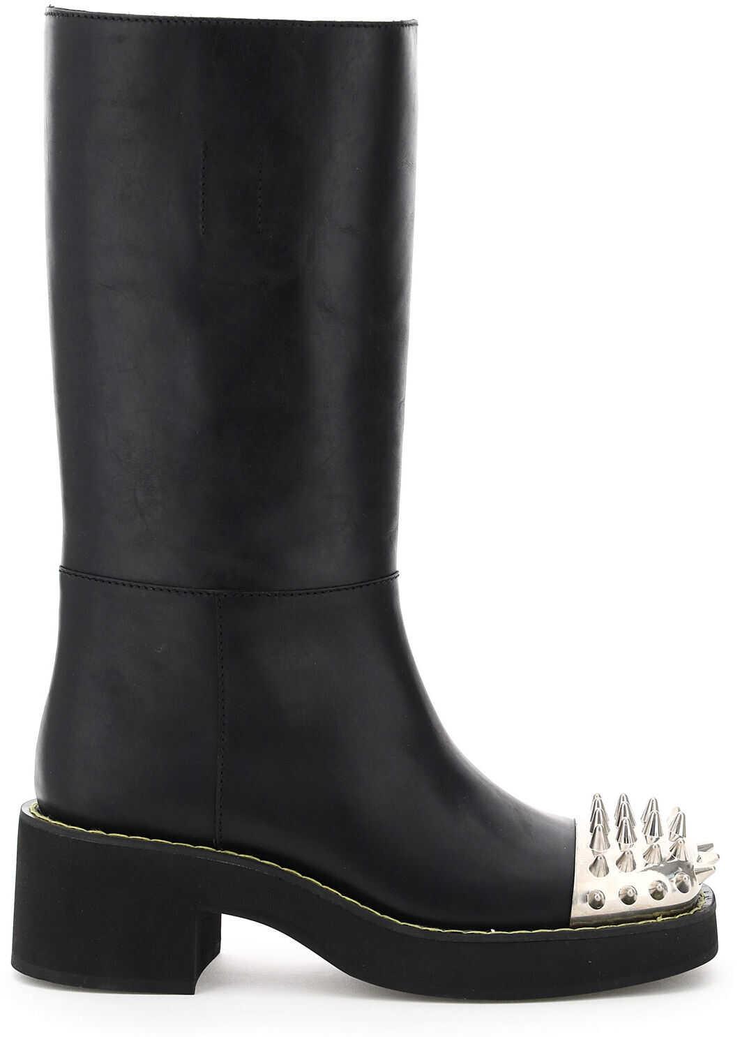 Miu Miu Studded Leather Boots 5W319D 3LDZ NERO imagine b-mall.ro