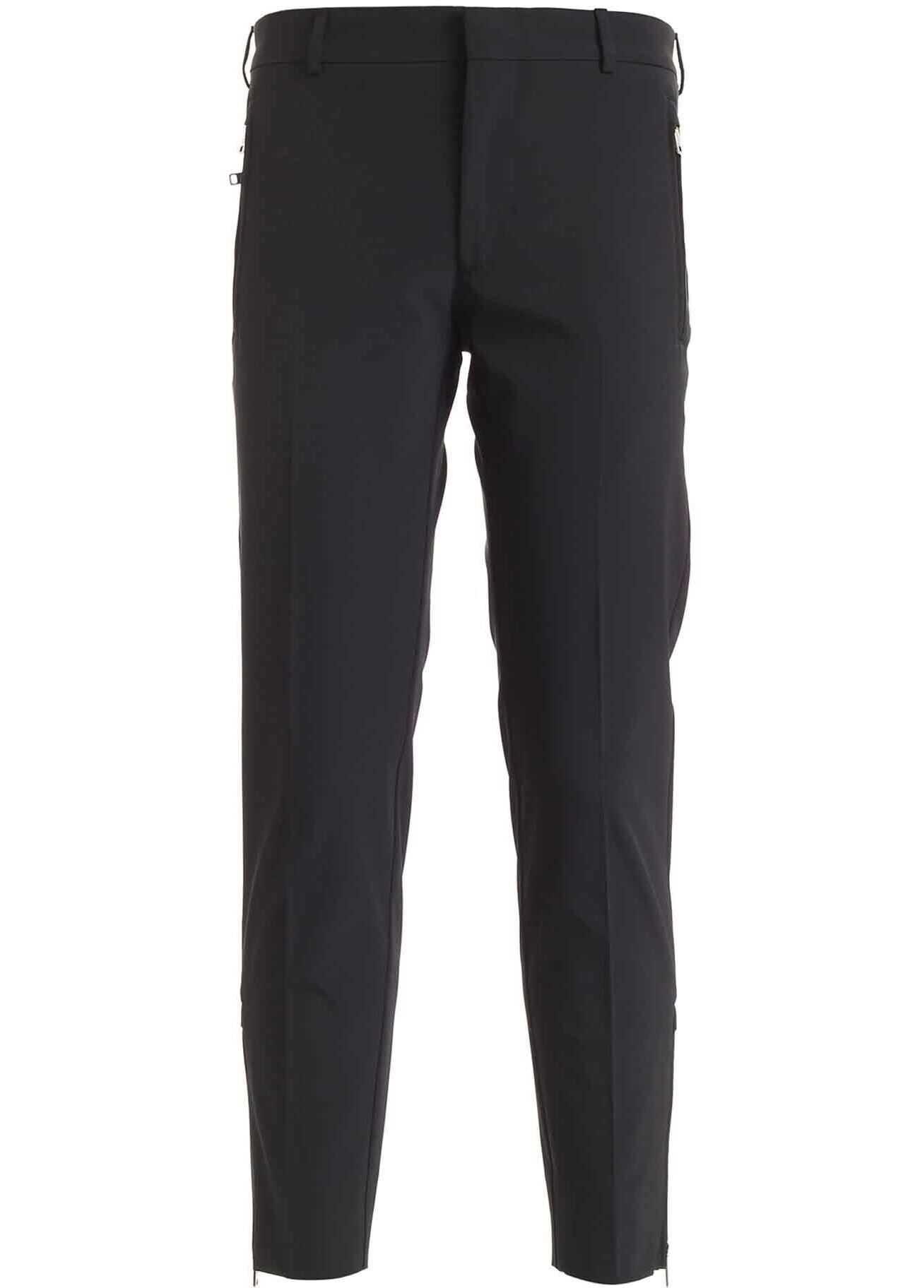 Prada Zipped Pants In Black Black imagine